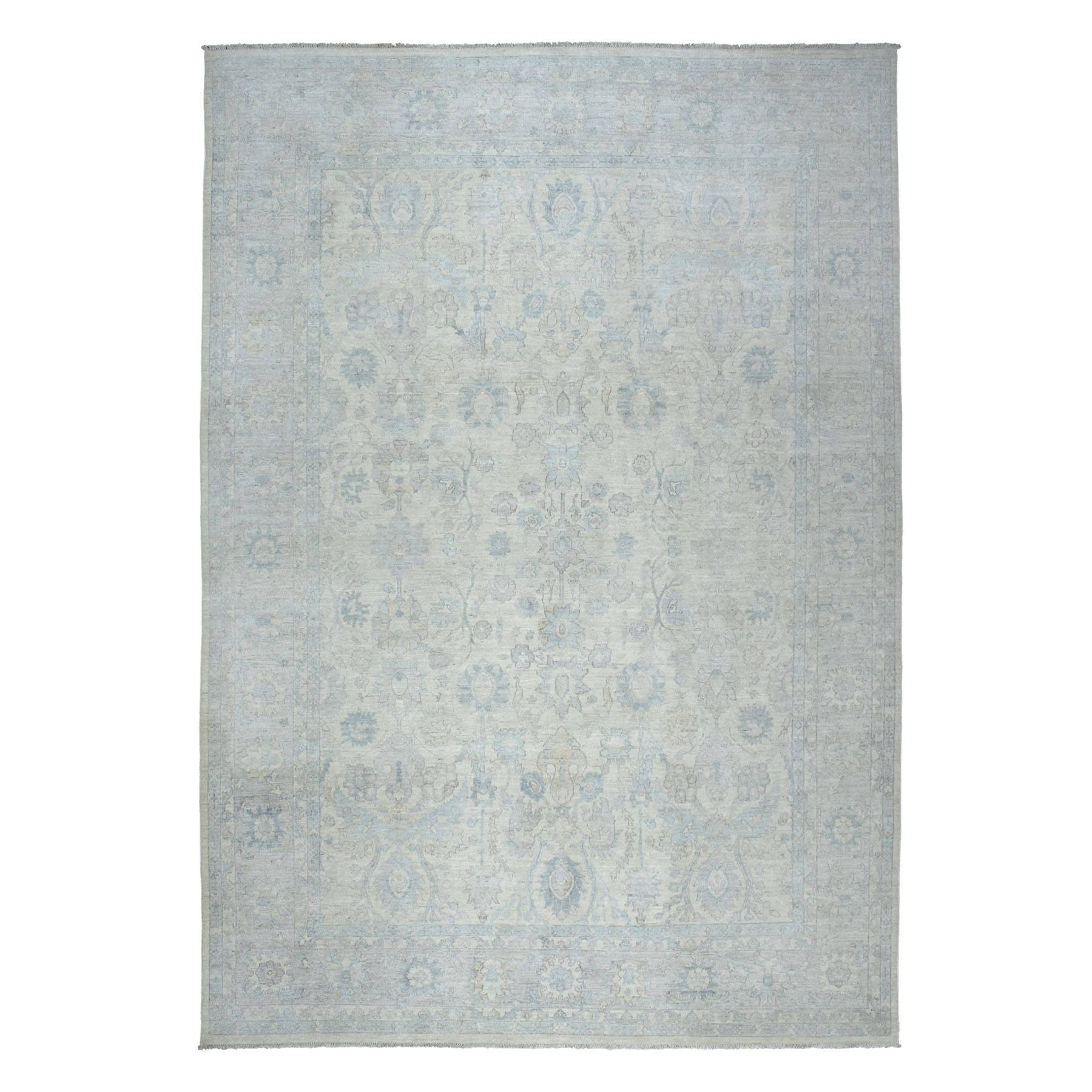 "10'X13'9"" White Wash Peshawar Pure Wool Hand Knotted Oriental Rug moaebdcc"