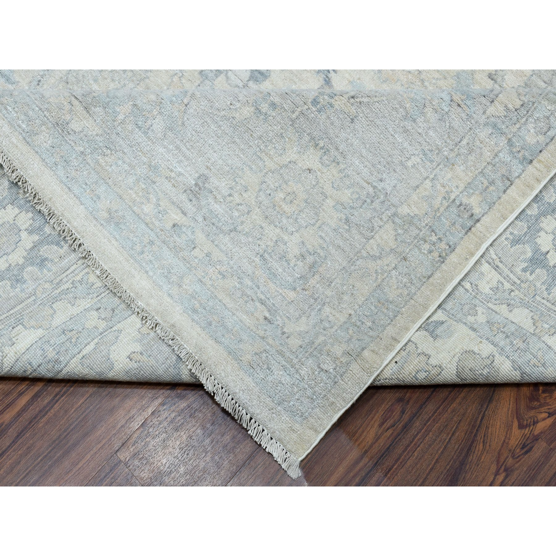 """10'x13'9"""" White Wash Peshawar Pure Wool Hand Knotted Oriental Rug"""