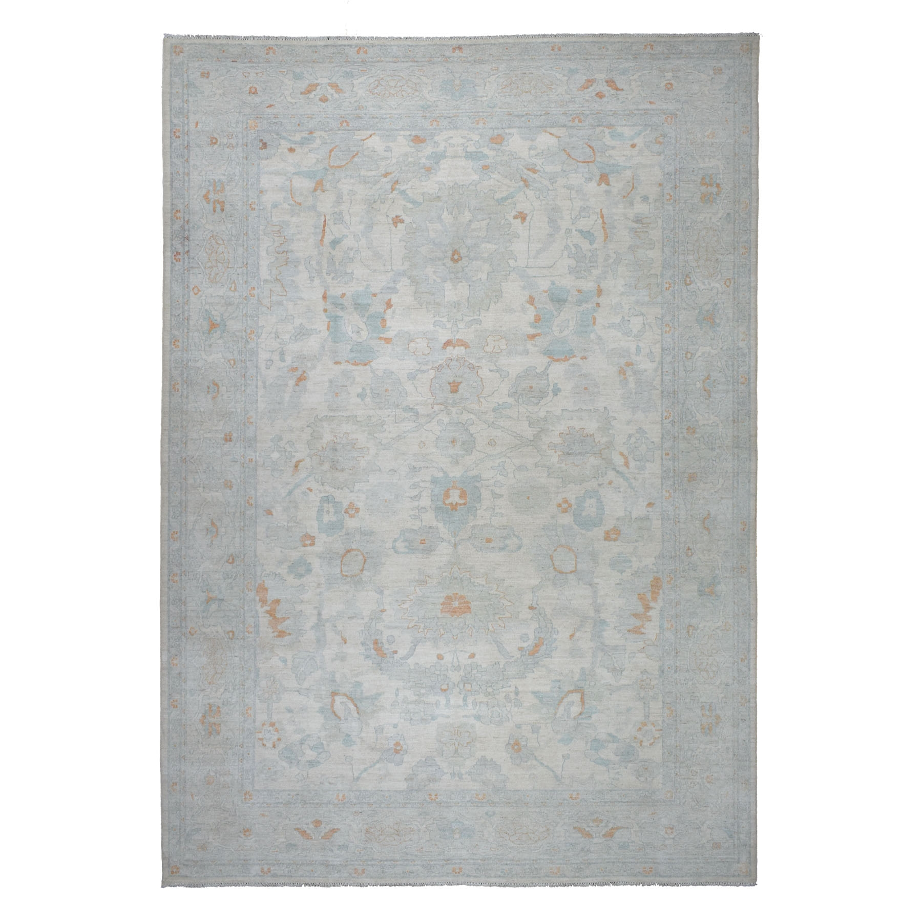"""10'x13'10"""" White Wash Peshawar Pure Wool Hand Knotted Oriental Rug"""