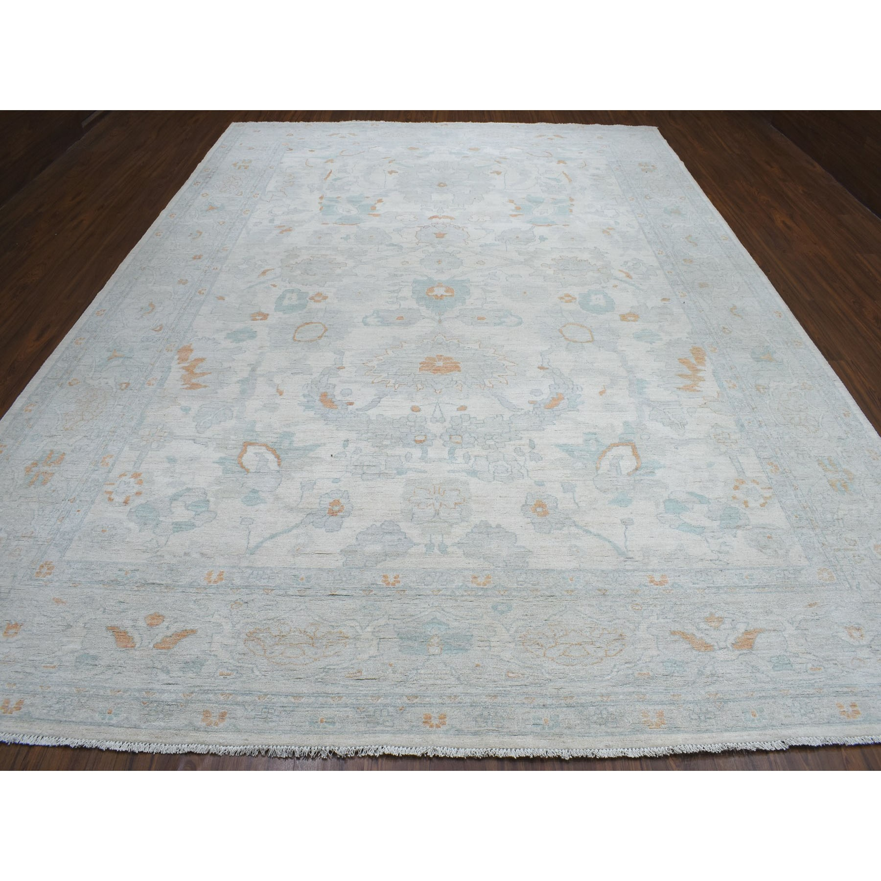 "10'x13'10"" White Wash Peshawar Pure Wool Hand Knotted Oriental Rug"