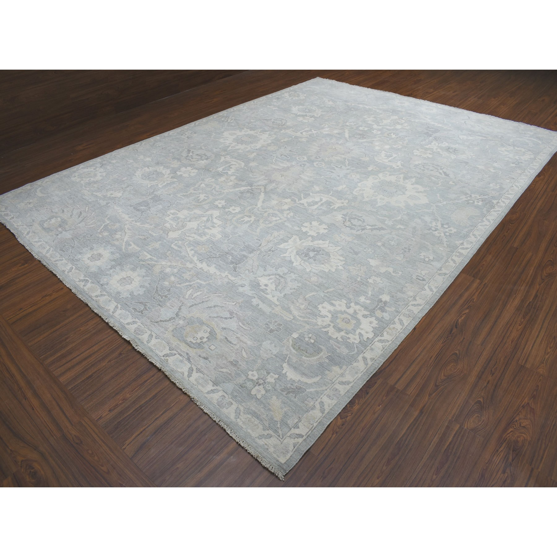 "10'x13'9"" White Wash Peshawar Pure Wool Hand Knotted Oriental Rug"