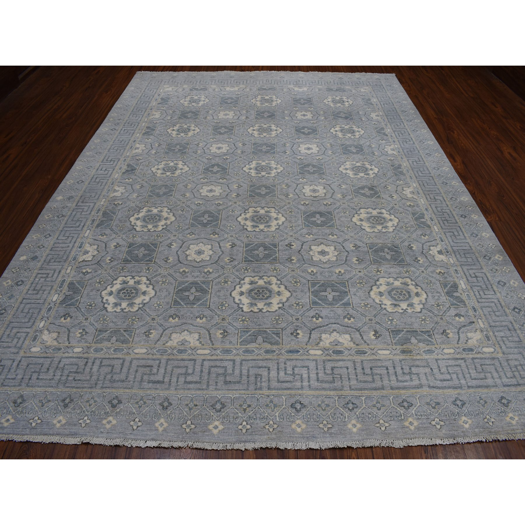"8'10""x11'8"" White Wash Peshawar Pure Wool Hand Knotted Oriental Rug"