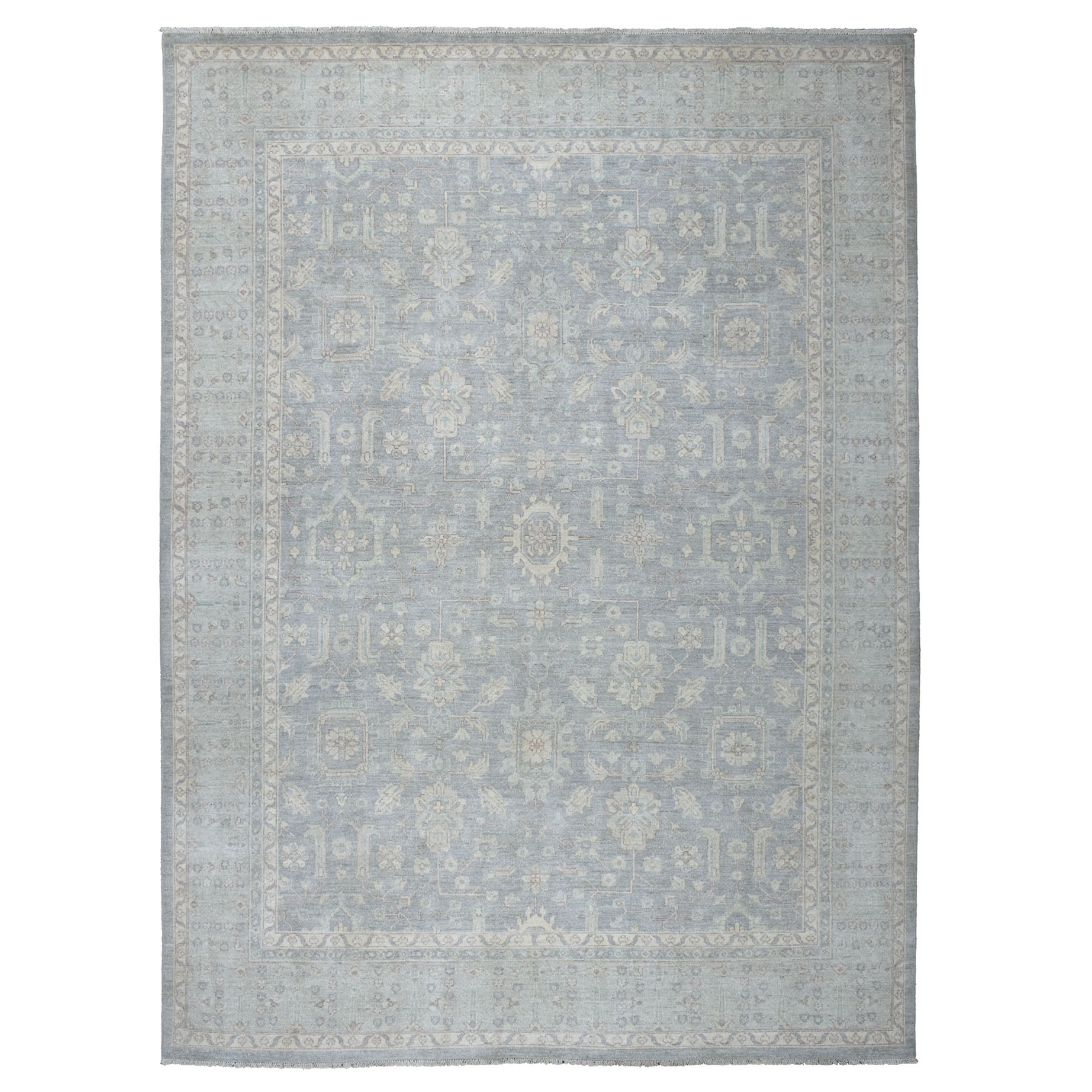 9'x12' White Wash Peshawar Pure Wool Hand Knotted Oriental Rug