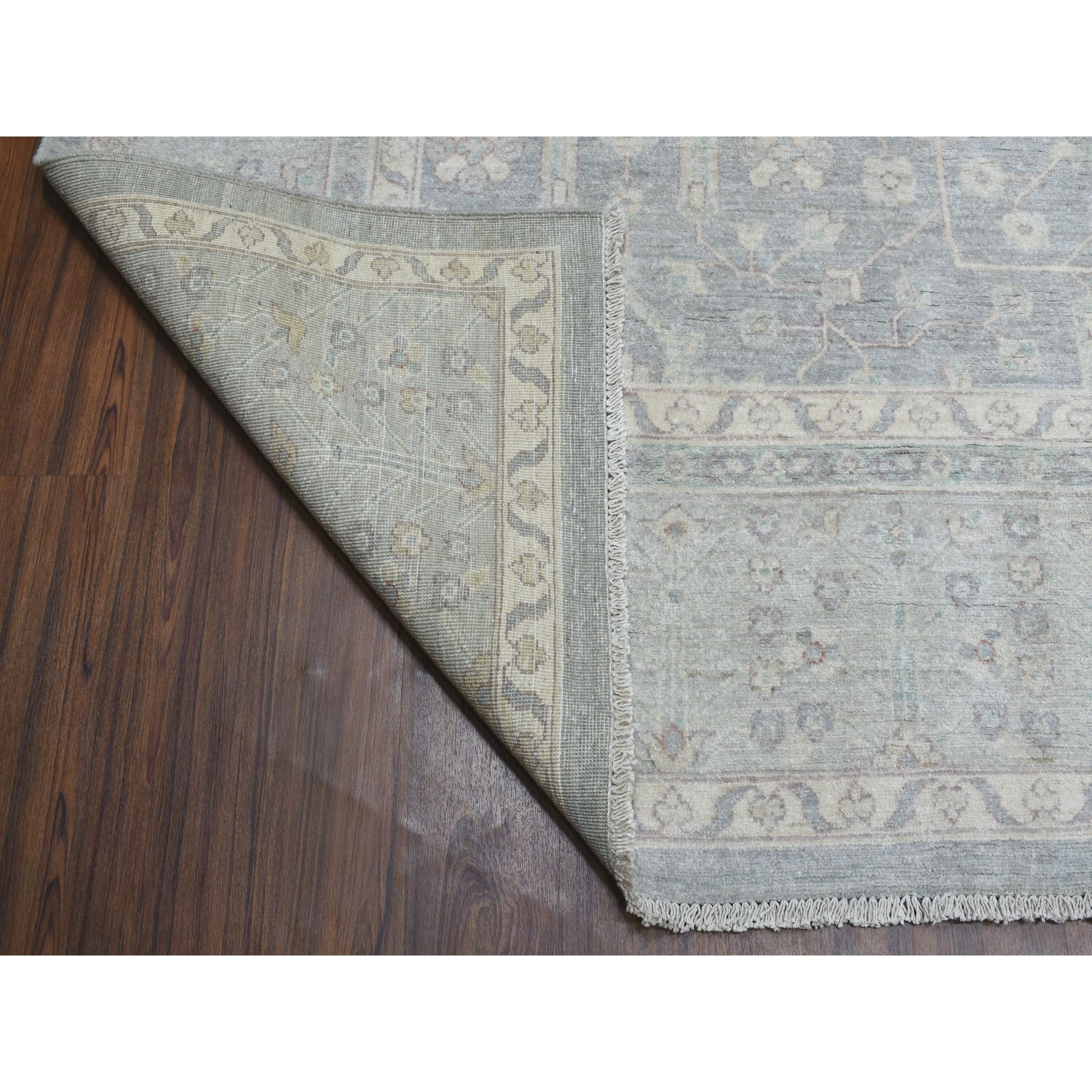 9-x12- White Wash Peshawar Pure Wool Hand Knotted Oriental Rug
