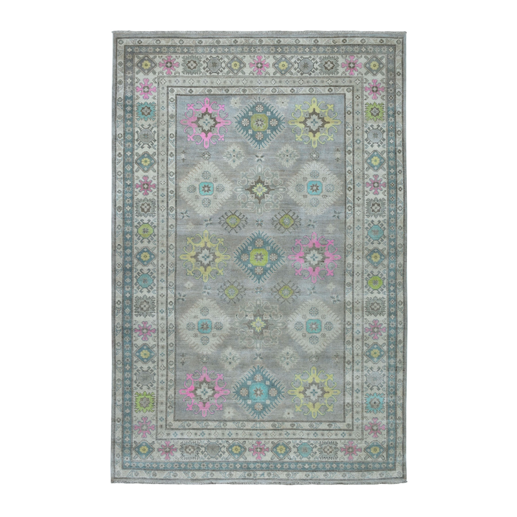 "6'X8'8"" Colorful Gray Fusion Kazak Pure Wool Geometric Design Hand Knotted Oriental Rug moaebdde"