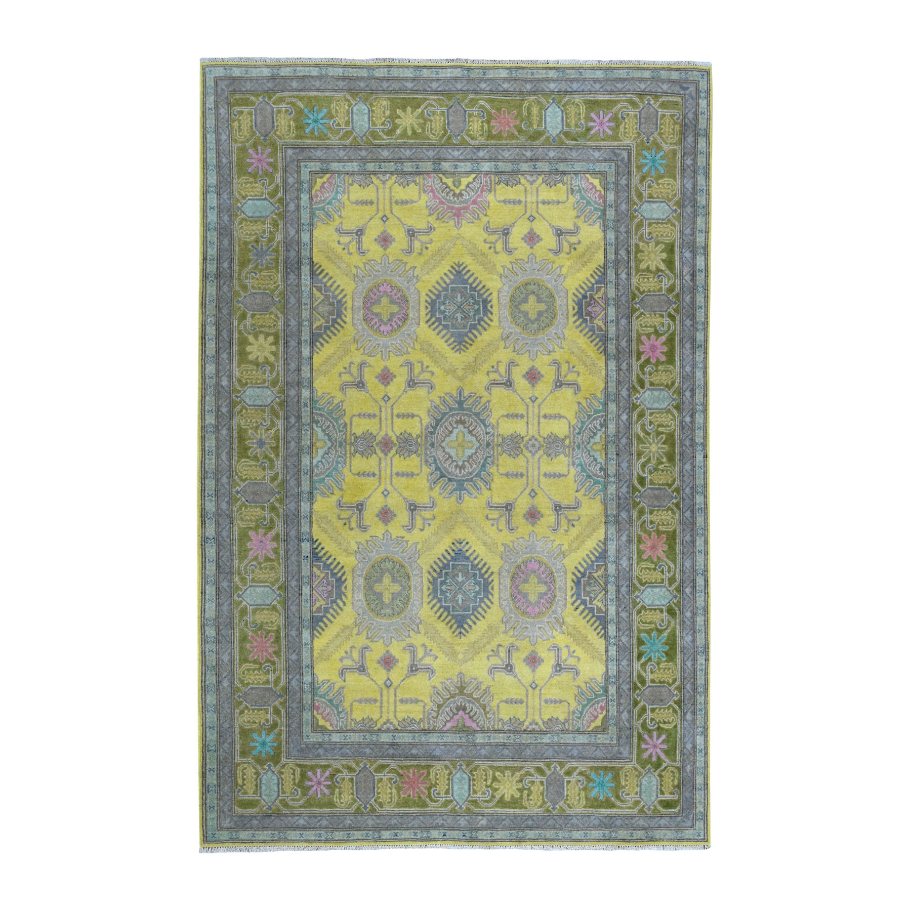 "6'1""x8'9"" Colorful Yellow Fusion Kazak Pure Wool Geometric Design Hand Knotted Oriental Rug"