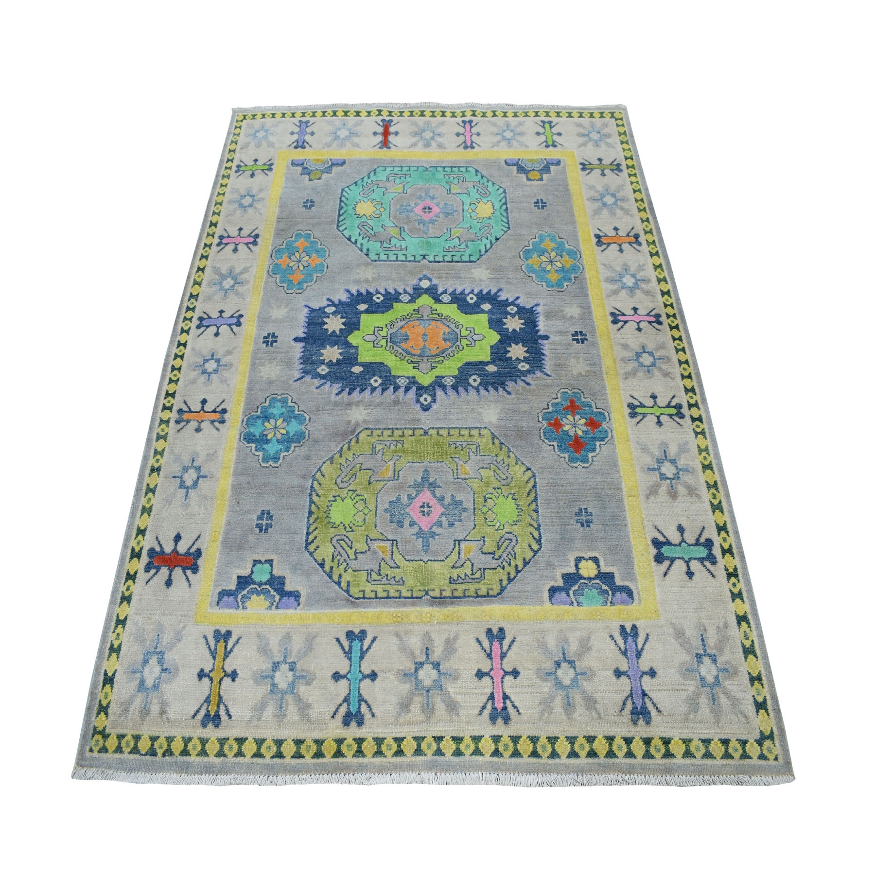 "5'x6'2"" Colorful Gray Fusion Kazak Pure Wool Geometric Design Hand Knotted Oriental Rug 52449"