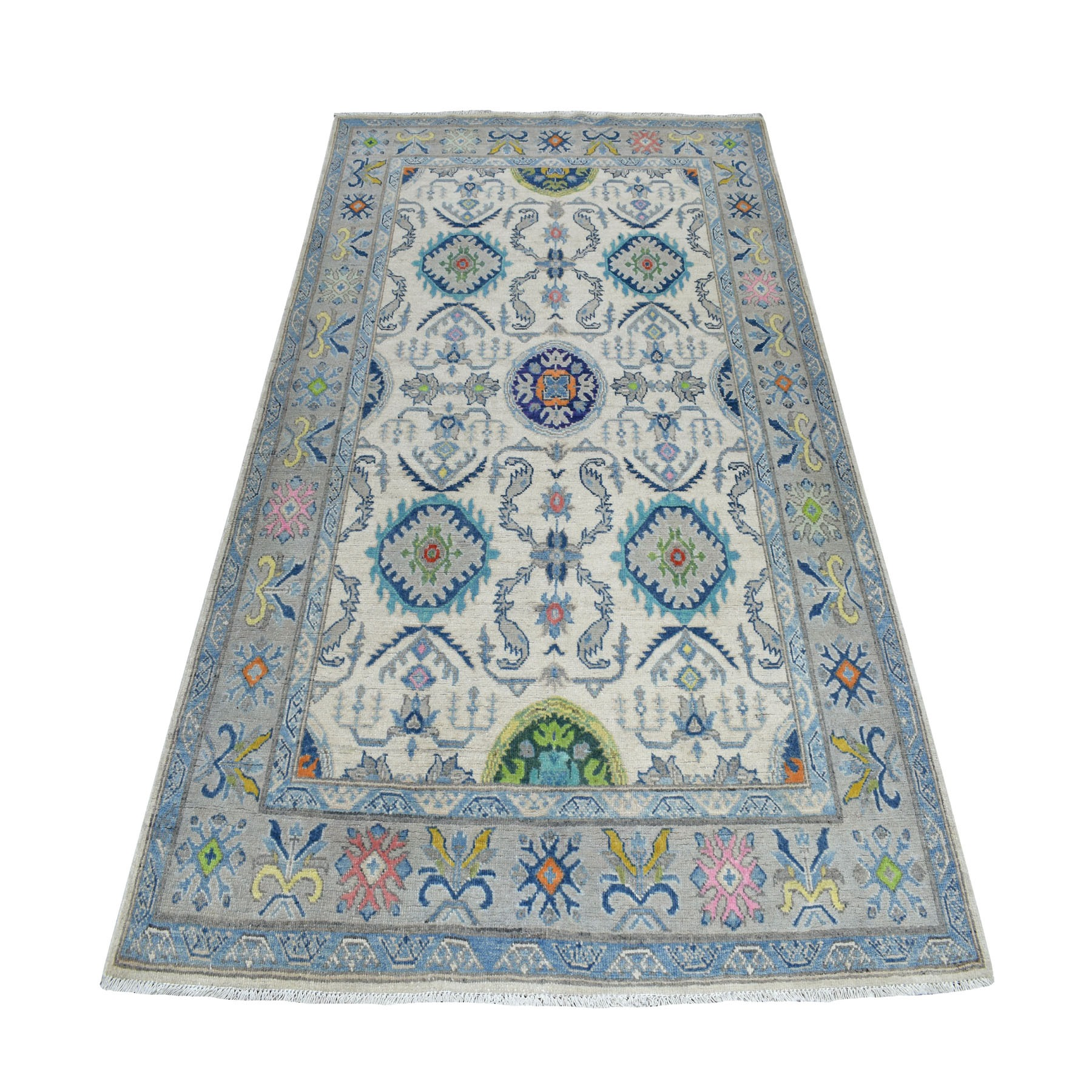 "4'9""X7' Colorful Ivory Fusion Kazak Pure Wool Hand Knotted Oriental Rug moaebde0"