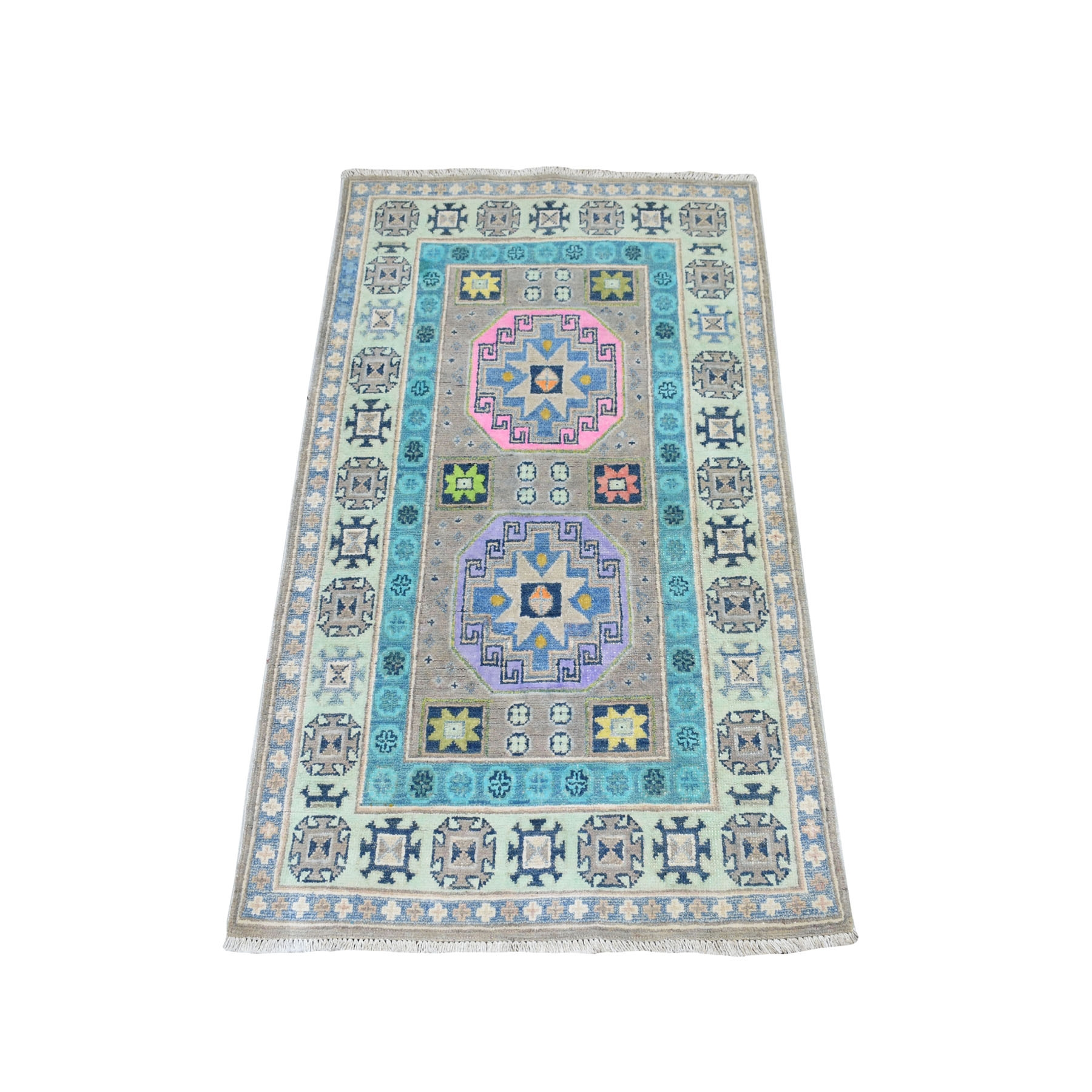 """2'6""""x4' Colorful Gray Fusion Kazak Pure Wool Geometric Design Hand Knotted Oriental Rug 52456"""