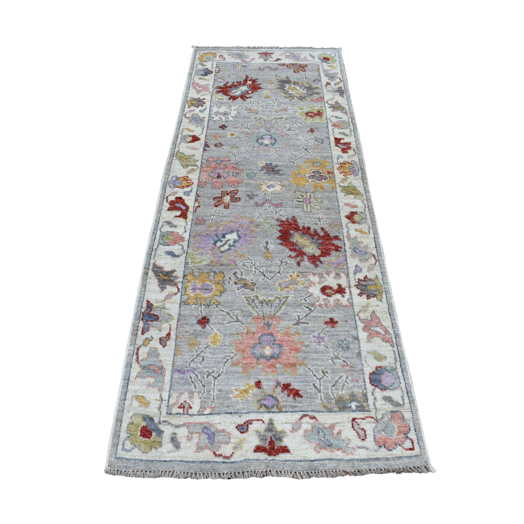 """3'1""""x7'7""""  Gray Angora Oushak Pure Wool Runner Hand Knotted Oriental Rug 52467"""
