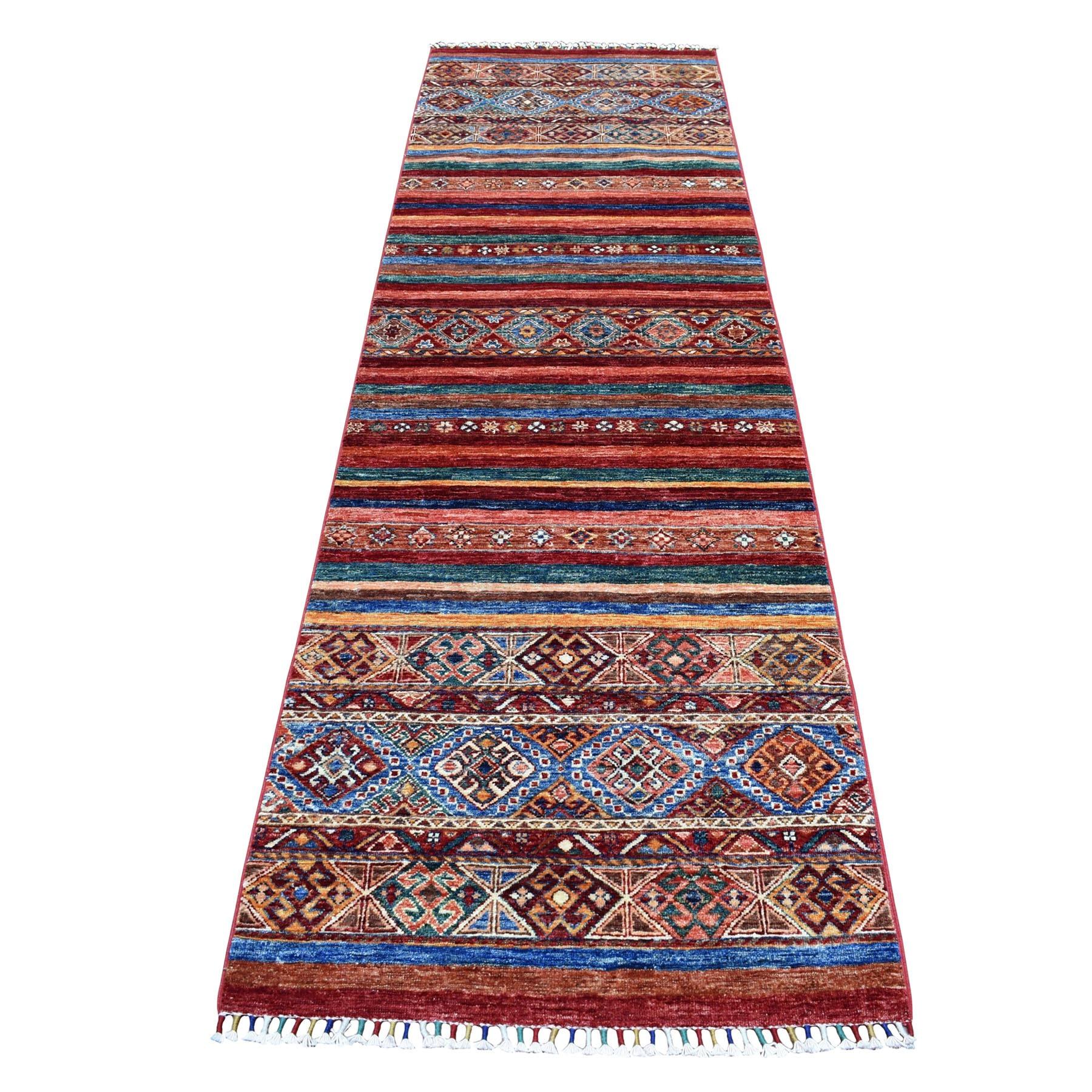 "3'X9'4"" Khorjin Design Colorful Runner Super Kazak Pure Wool Hand Knotted Oriental Rug moaebd70"
