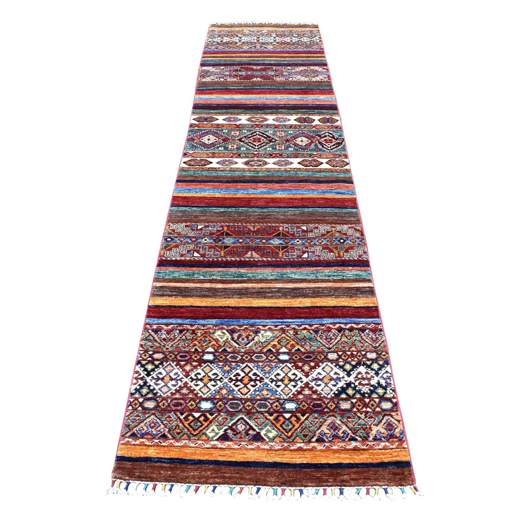 "2'7""x11'9""  Khorjin Design Colorful Runner Super Kazak Pure Wool Hand Knotted Oriental Rug"