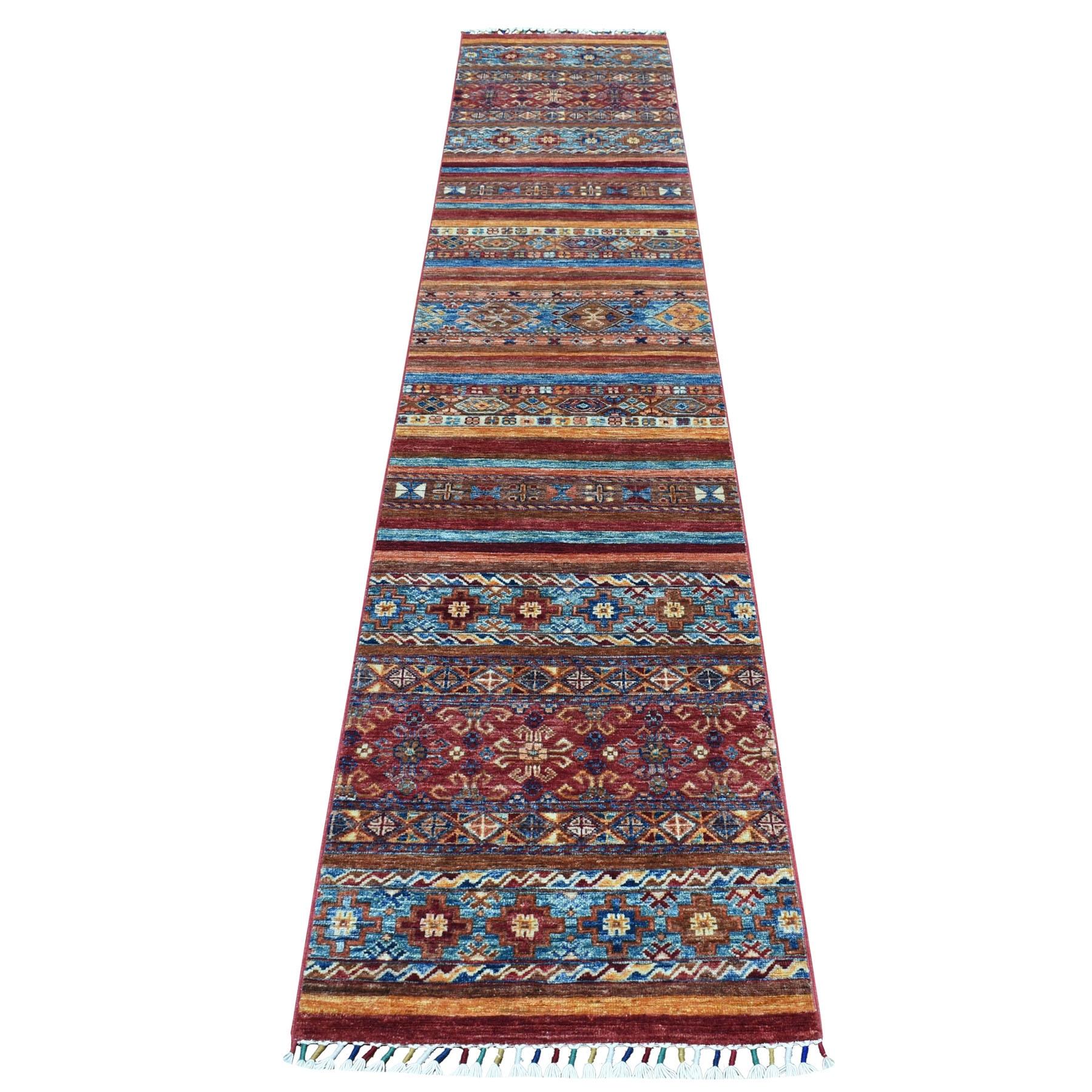 "2'X10'3"" Khorjin Design Colorful Narrow Runner Super Kazak Pure Wool Hand Knotted Oriental Rug moaebd7b"