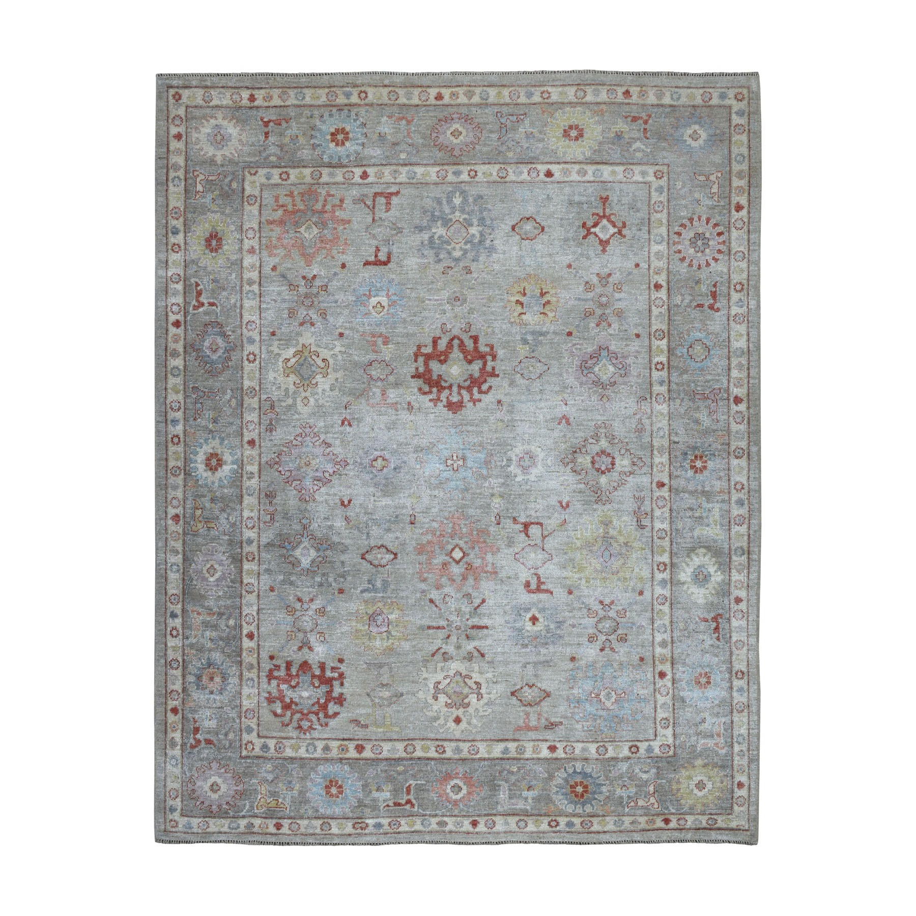 "7'10""x9'9"" Gray Angora Oushak Pure Wool Hand Knotted Oriental Rug"