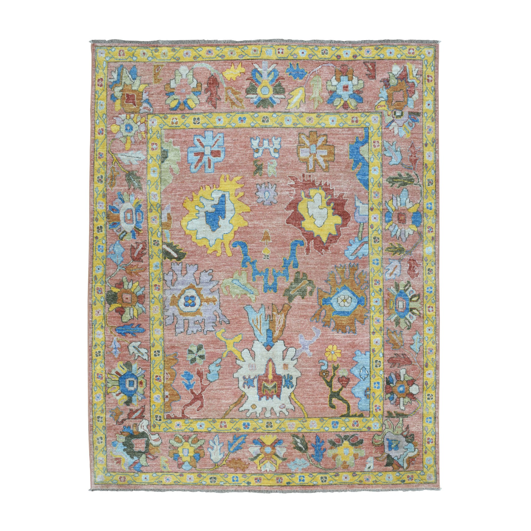 """7'7""""X9'9"""" Salmon Angora Oushak Pure Wool Hand Knotted Oriental Rug moaebd7d"""