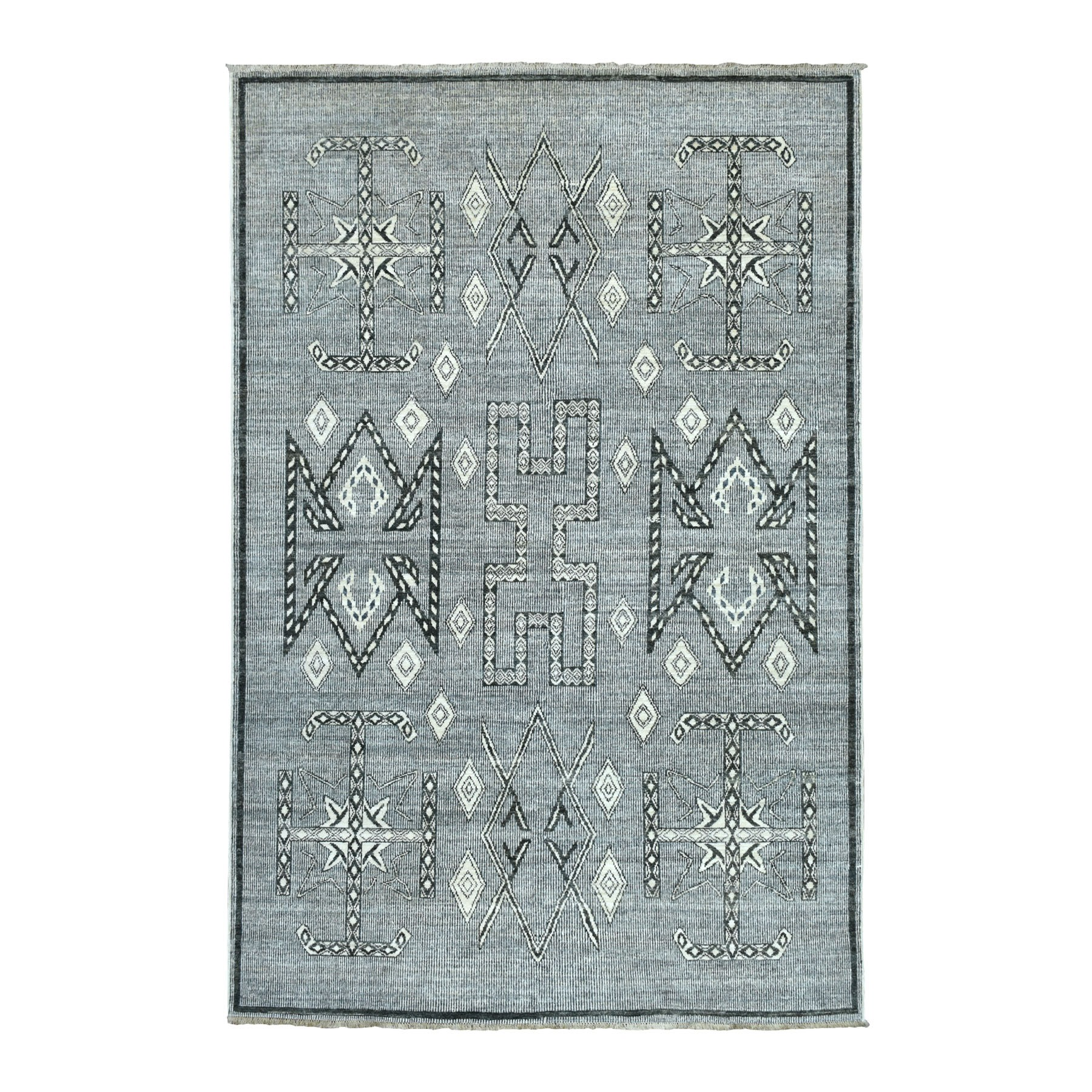 "6'X8'8"" Gray Peshawar South Motifs Pure Wool Hand Knotted Oriental Rug moaebd8b"