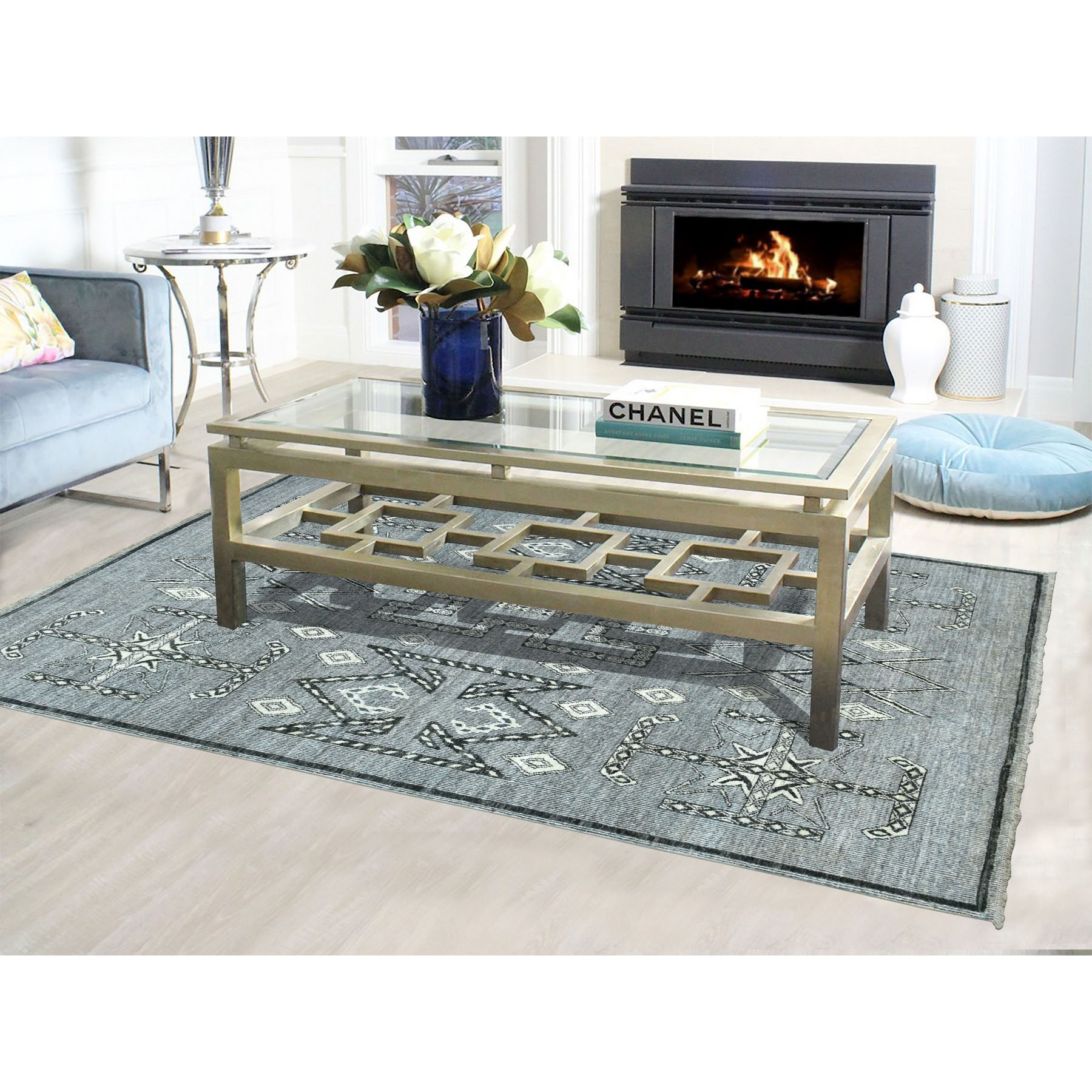 6-x8-8  Gray Peshawar With Berber Motifs Pure Wool Hand Knotted Oriental Rug