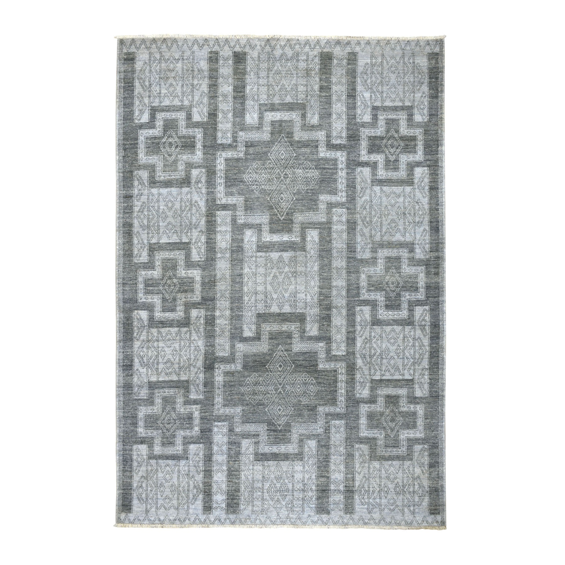 "6'X8'10"" Gray Peshawar With South West Motifs Pure Wool Hand Knotted Oriental Rug moaebd8c"