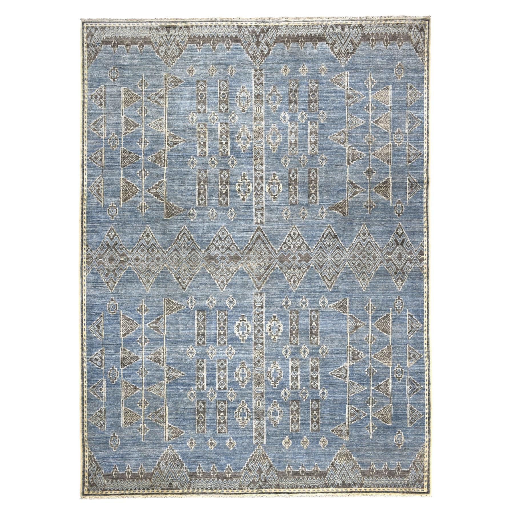 9'X12' Blue Peshawar Berber Motif Influence Southwestern Design Pure Wool Oriental Rug moaebd8d