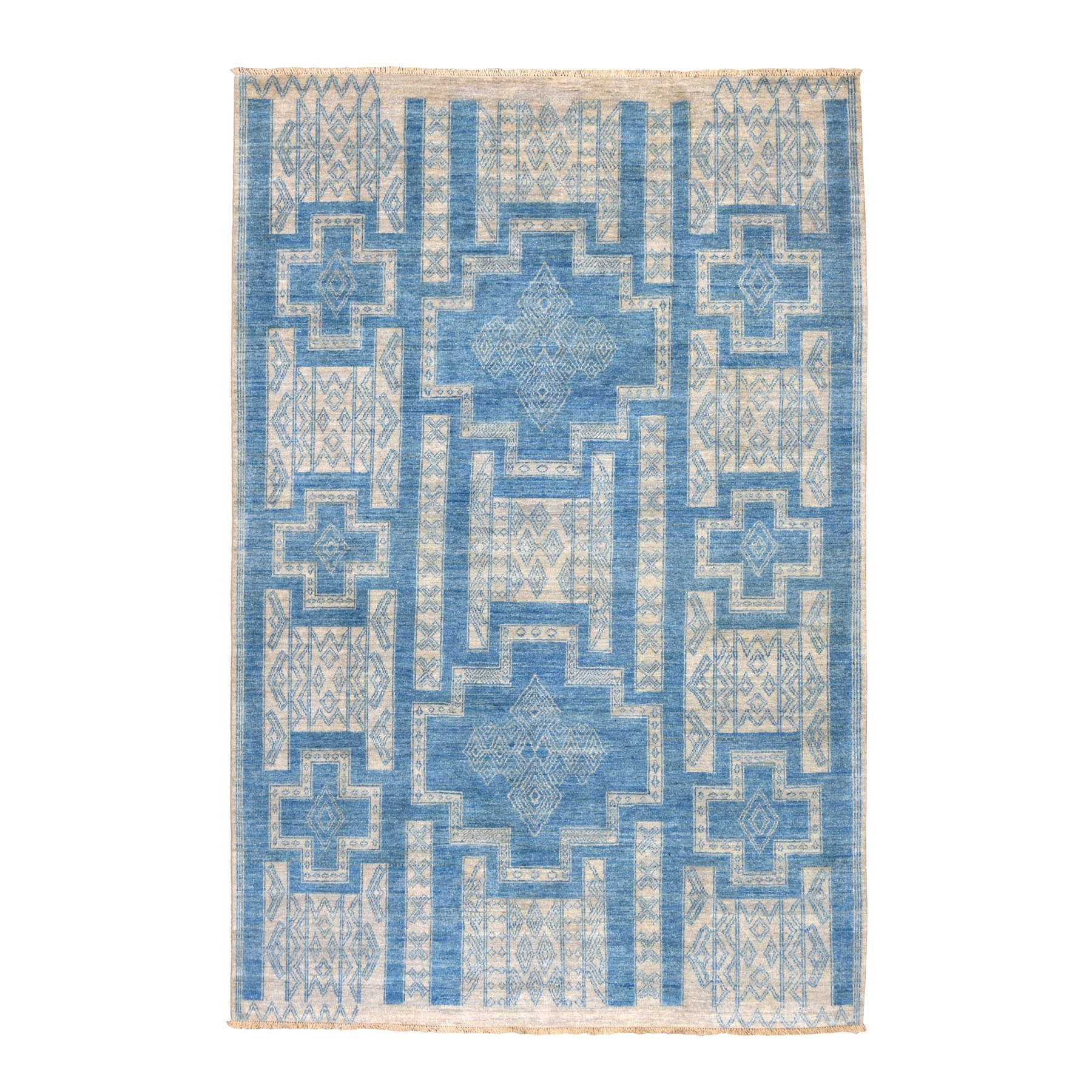 "6'X8'9"" Blue Hand Knotted Pure Wool Peshawar With Southwestern Motifs Oriental Rug moaebd8e"