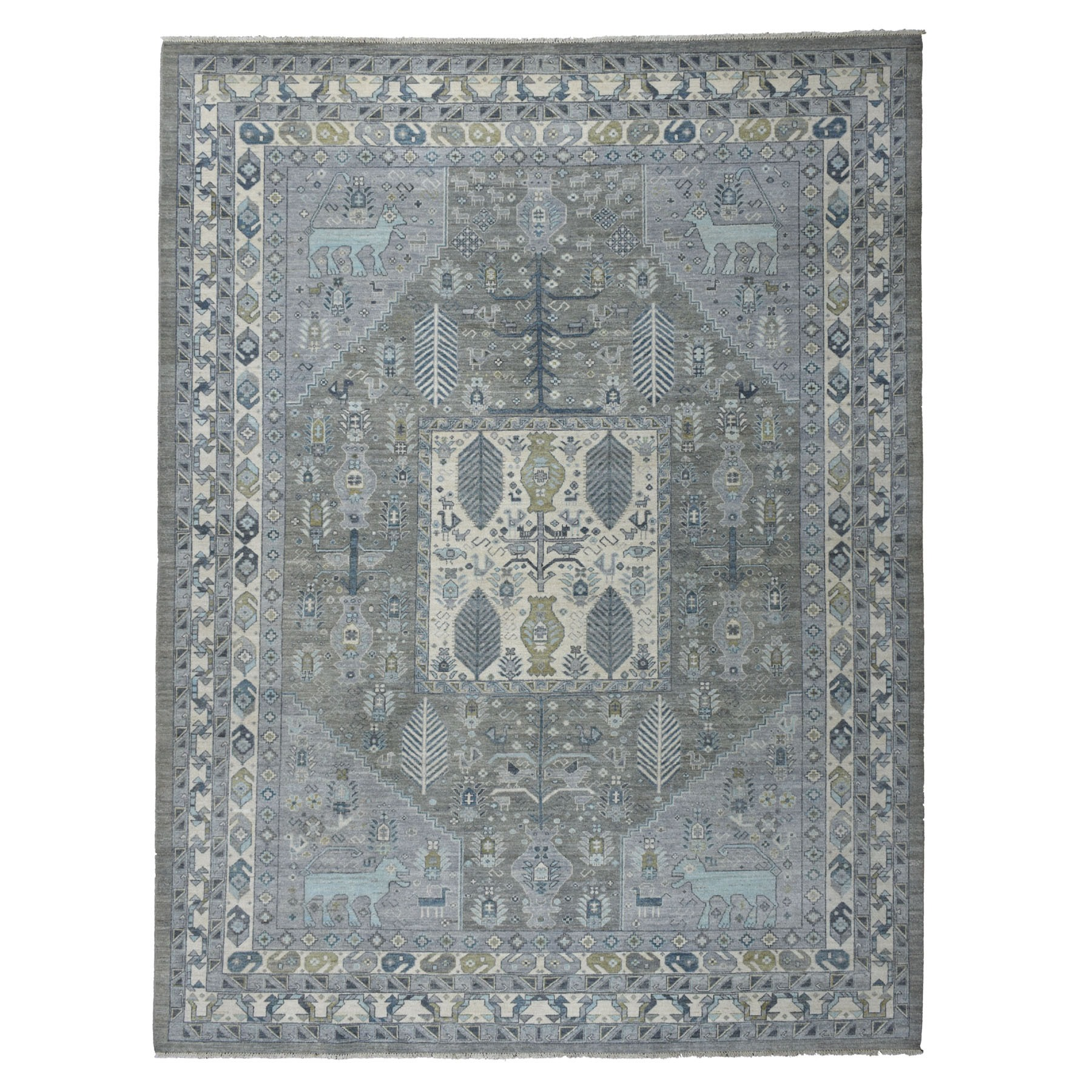 """9'X11'7"""" Gray Ancient Animal Motifs Design With Peshawar Pure Wool Hand Knotted Oriental Rug moaebd86"""