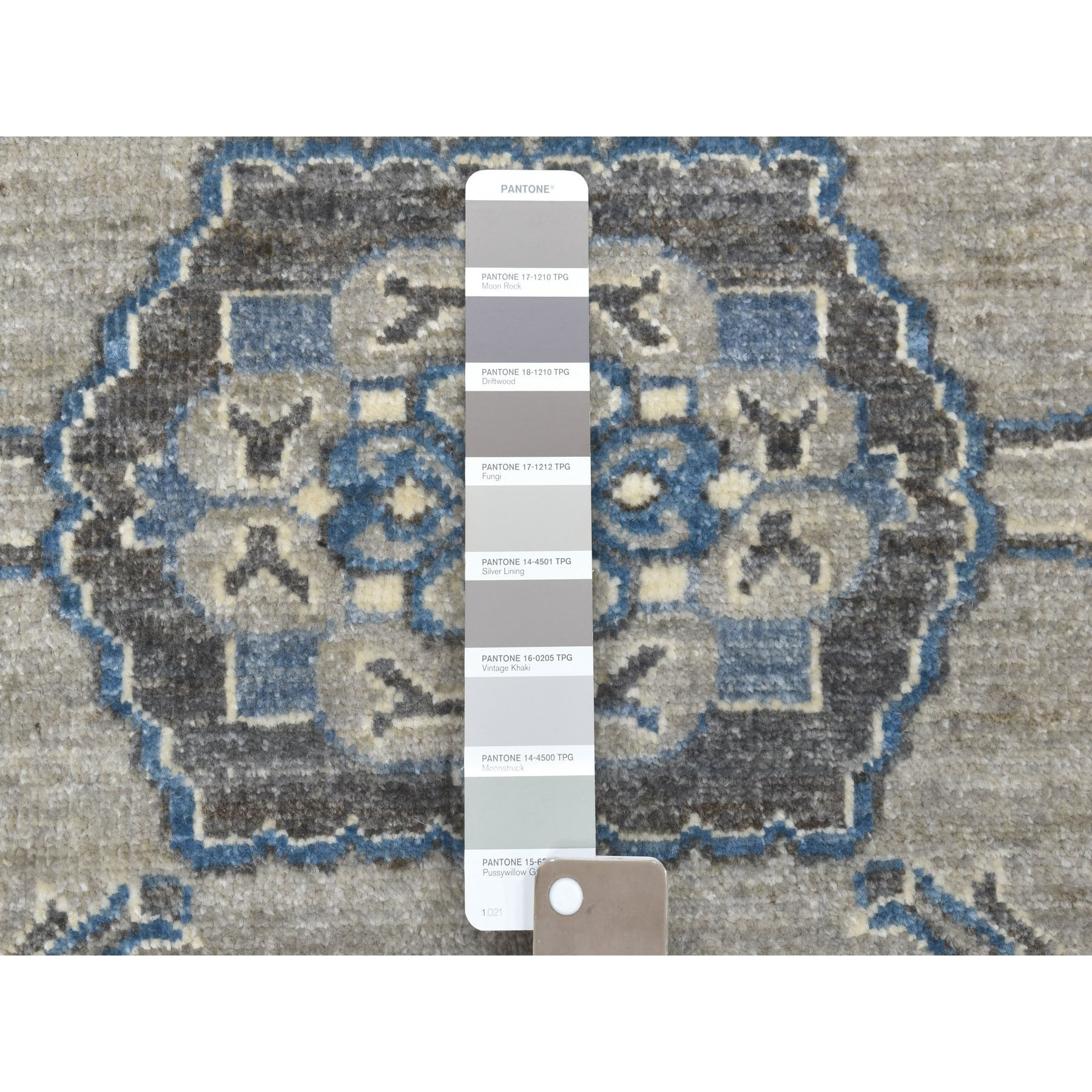 8'x10' Gray Pure Wool Hand-Knotted Peshawar With Karajeh Design Oriental Rug