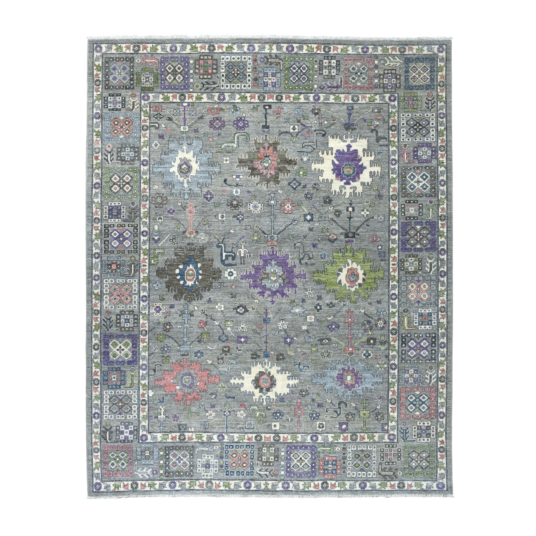 "8'X9'8"" Gray Peshawar With Pop Of Color Hand Knotted Oriental Rug moaebd88"
