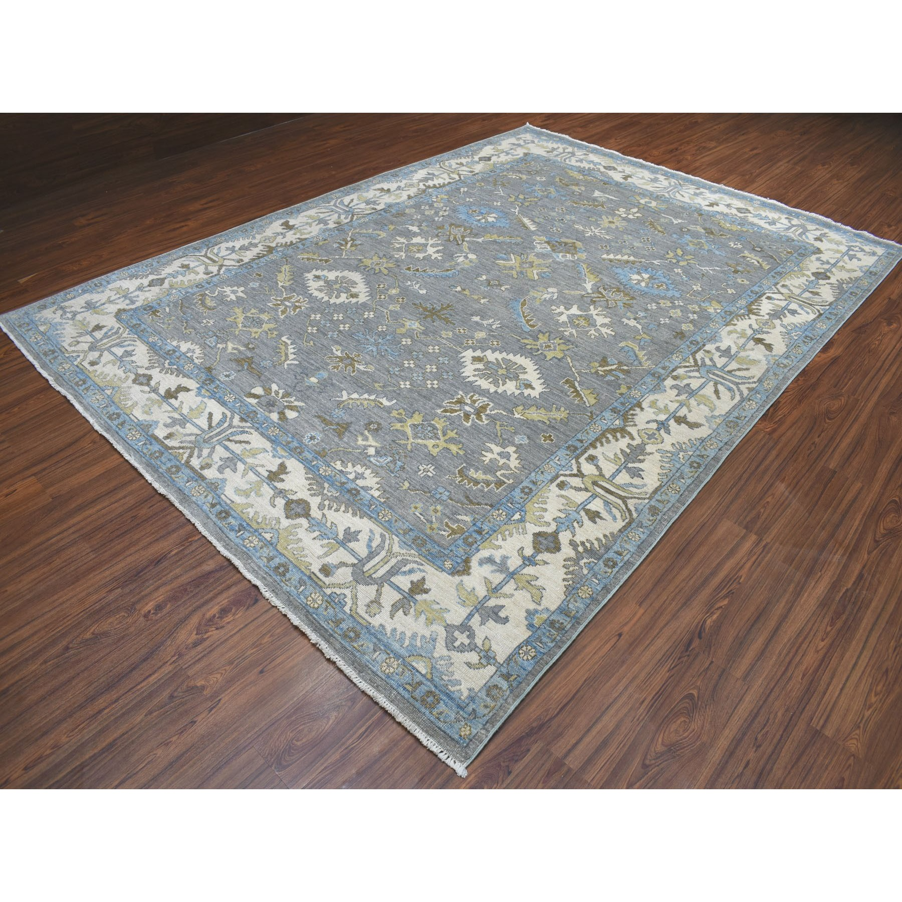 """8'7""""x11'8"""" Gray Angora Oushak Pure Wool Hand Knotted Oriental Rug"""