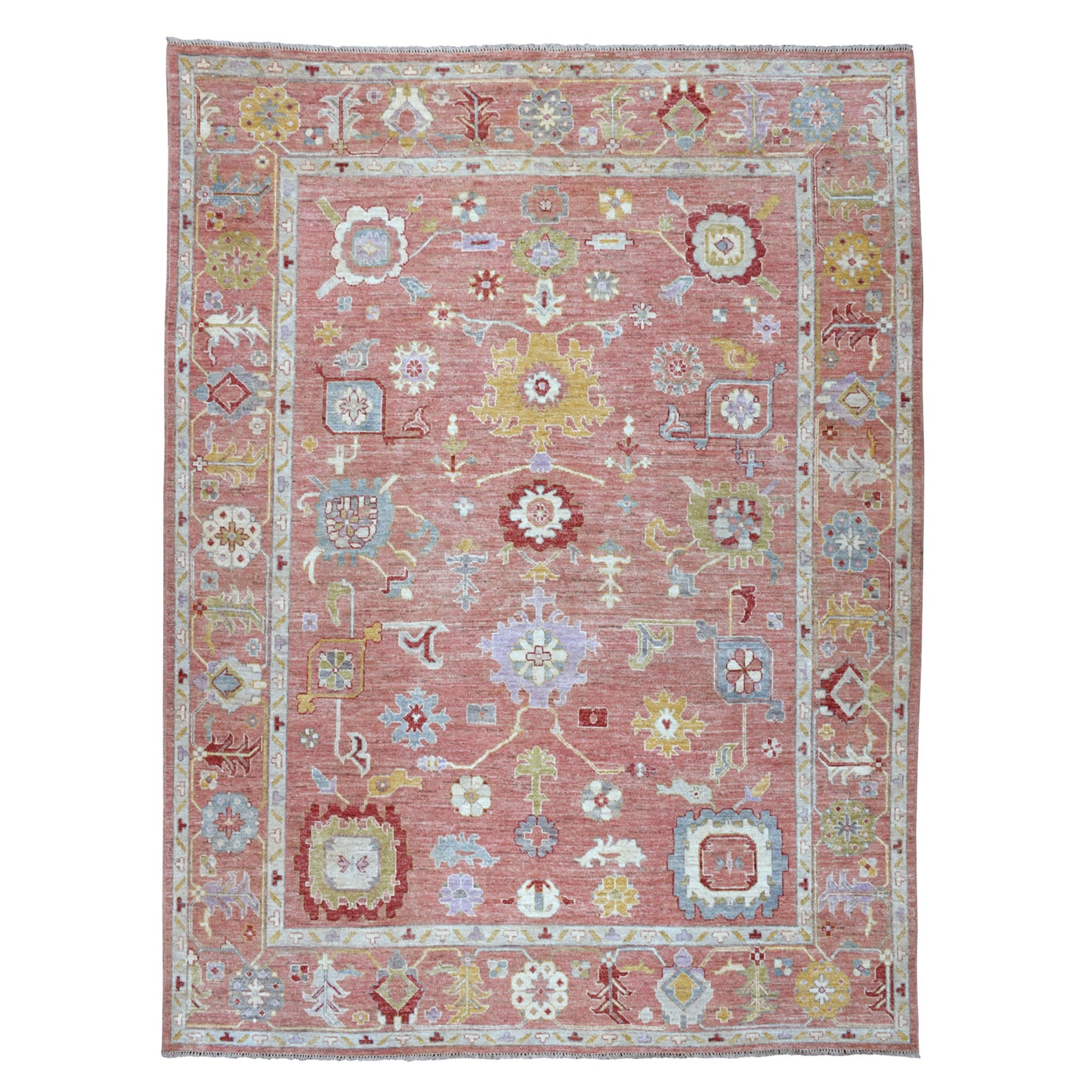 "8'10""x11' Coral Angora Oushak Pure Wool Hand Knotted Oriental Rug"