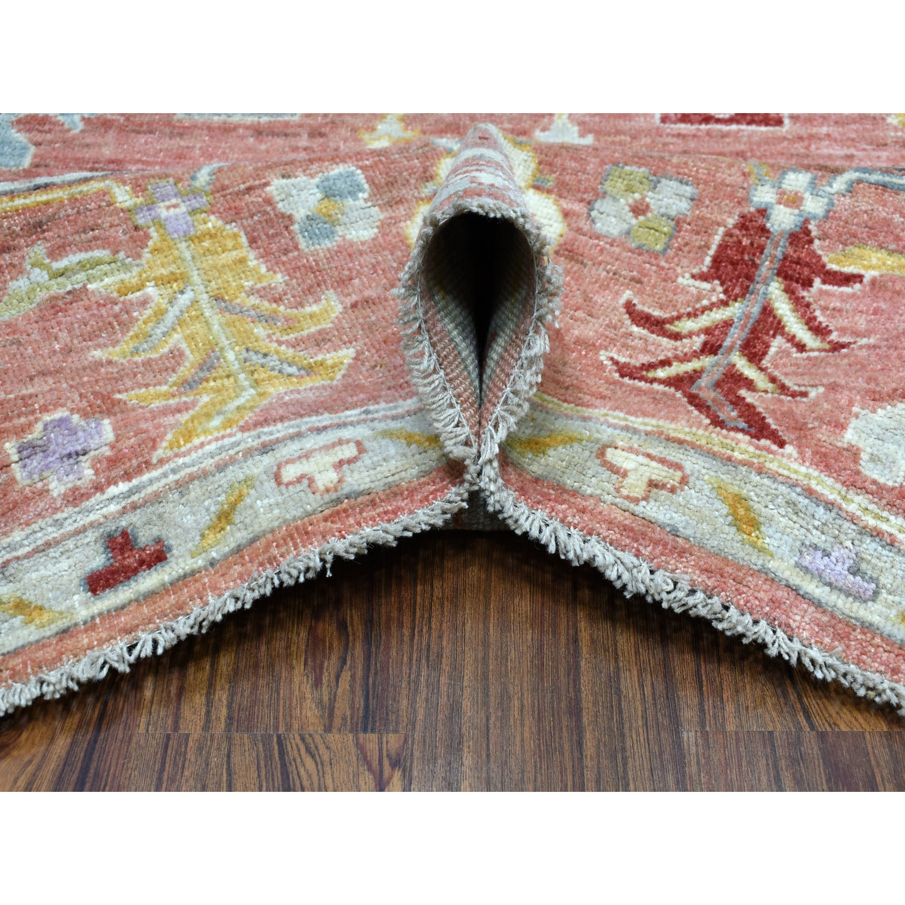 """8'10""""x11' Coral Angora Oushak Pure Wool Hand Knotted Oriental Rug"""