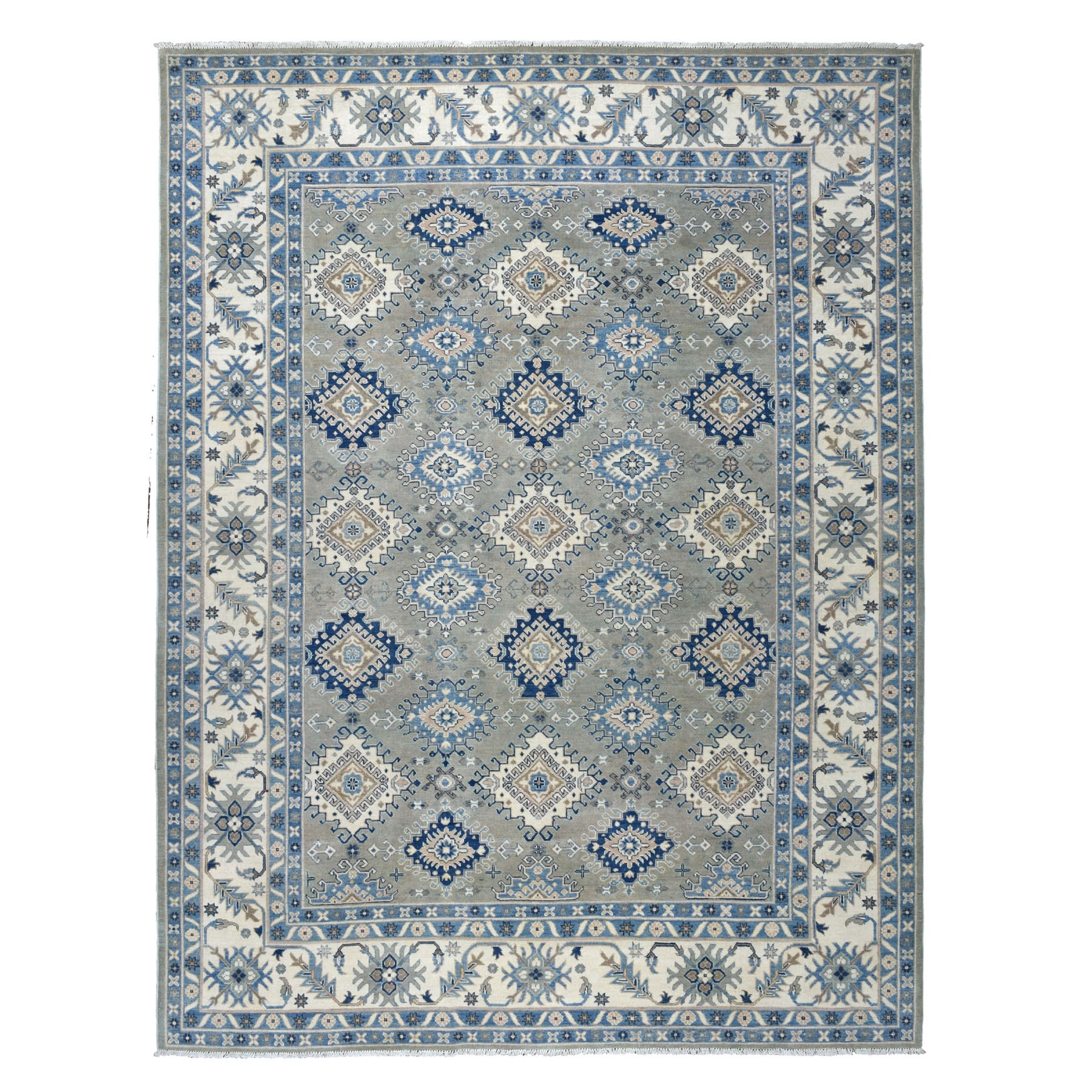 "8'10""X11'5"" Gray Vintage Look Kazak Geometric Design Pure Wool Hand Knotted Oriental Rug moaebd9b"
