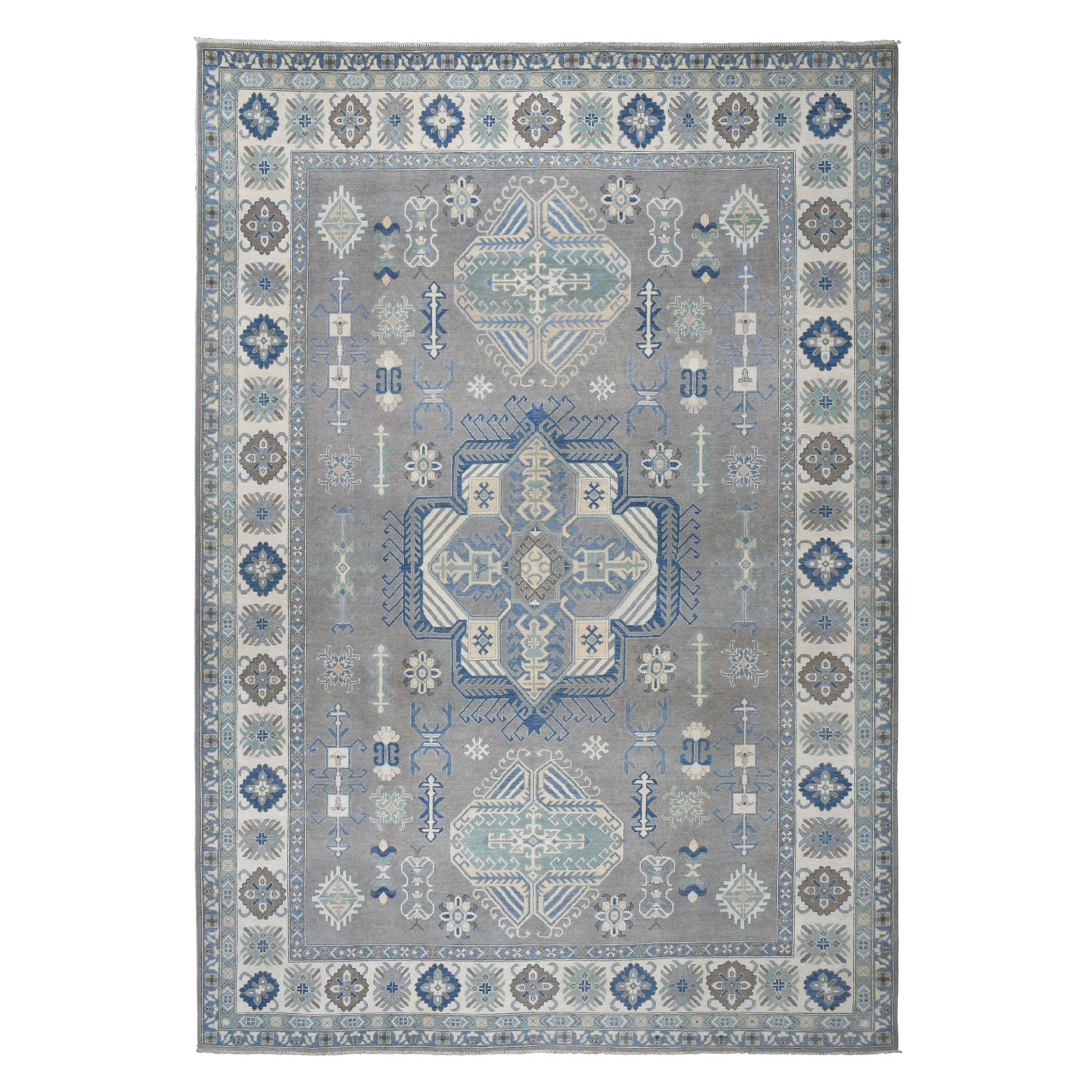 "10'X14'1"" Gray Vintage Look Kazak Geometric Design Pure Wool Hand Knotted Oriental Rug moaebd9c"