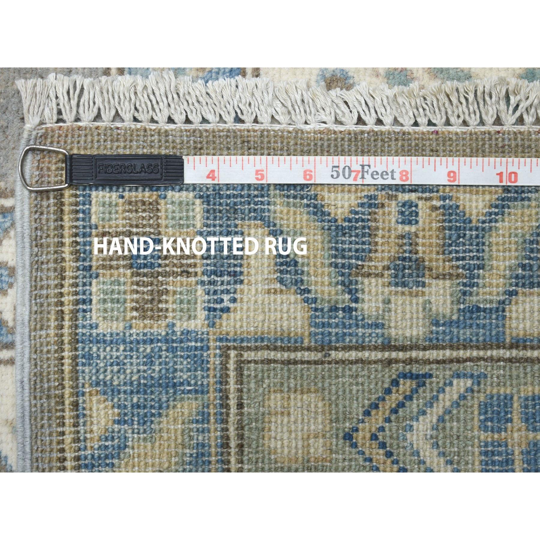 "10'x14'1"" Gray Vintage Look Kazak Geometric Design Pure Wool Hand Knotted Oriental Rug"