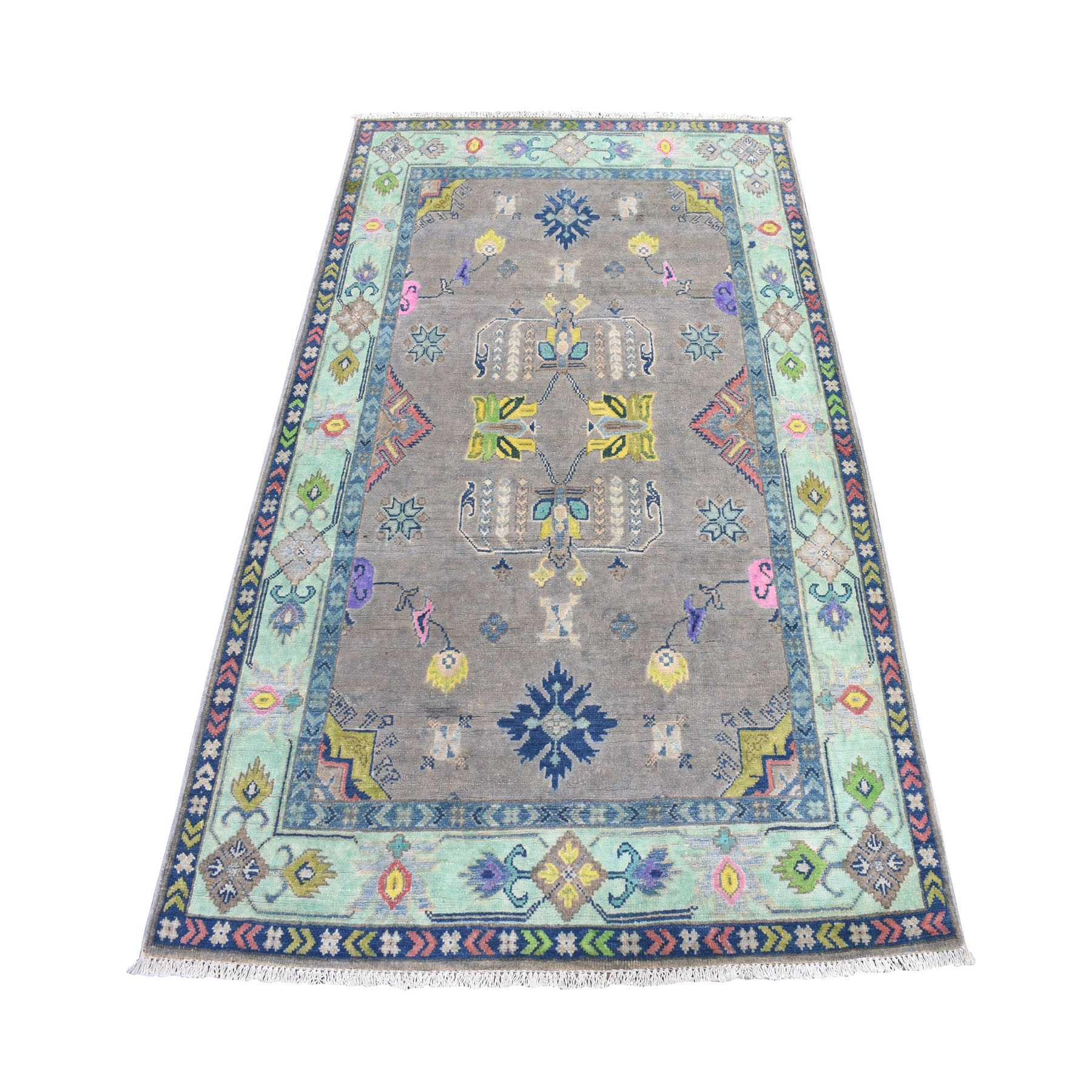 4'x6' Colorful Gray Fusion Kazak Pure Wool Geometric Design Hand Knotted Oriental Rug 52497