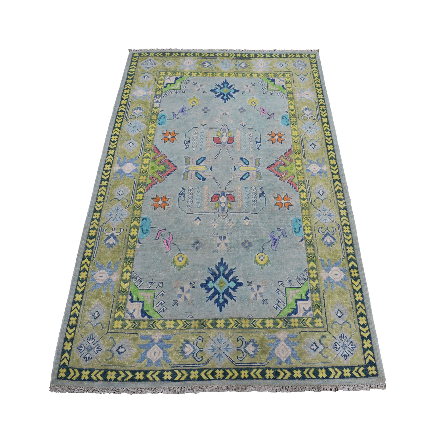 "4'X5'7"" Colorful Gray Fusion Kazak Pure Wool Geometric Design Hand Knotted Oriental Rug moaebd98"