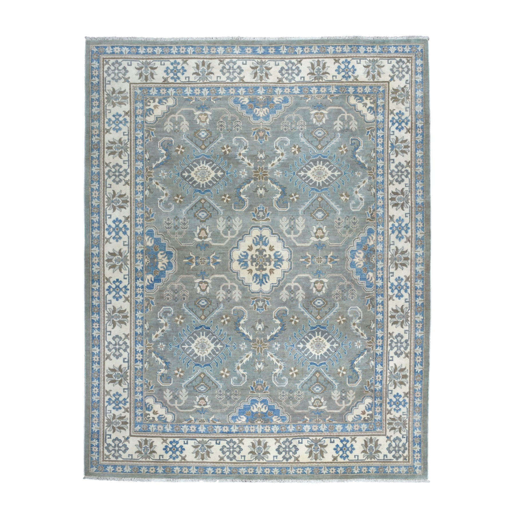 "8'X9'9"" Gray Vintage Look Kazak Geometric Design Pure Wool Hand Knotted Oriental Rug moaebe00"
