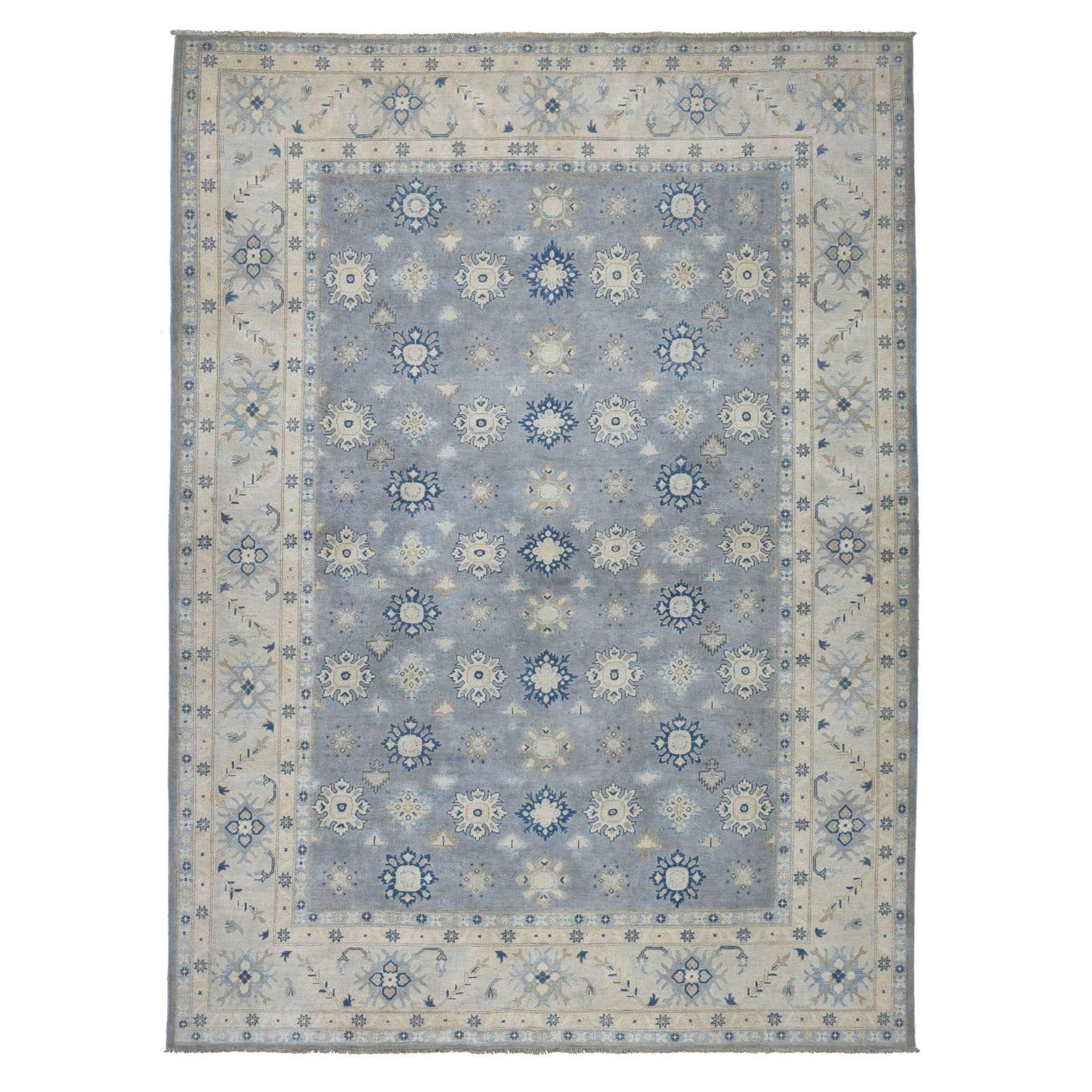 "8'10""X12'3"" Gray Vintage Look Kazak Geometric Design Pure Wool Hand Knotted Oriental Rug moaebe0a"