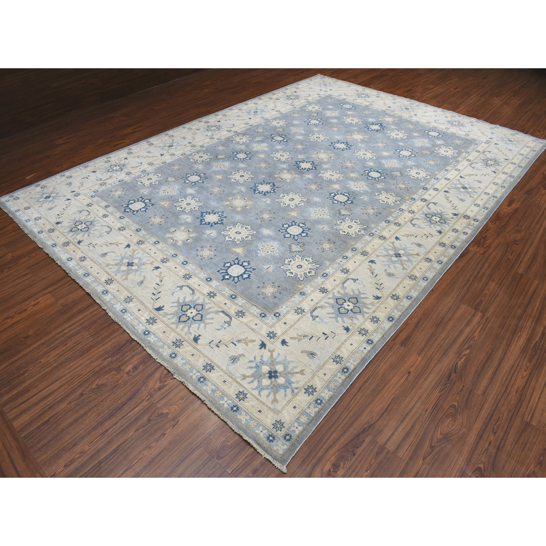 8-10 x12-3  Gray Vintage Look Kazak Geometric Design Pure Wool Hand Knotted Oriental Rug