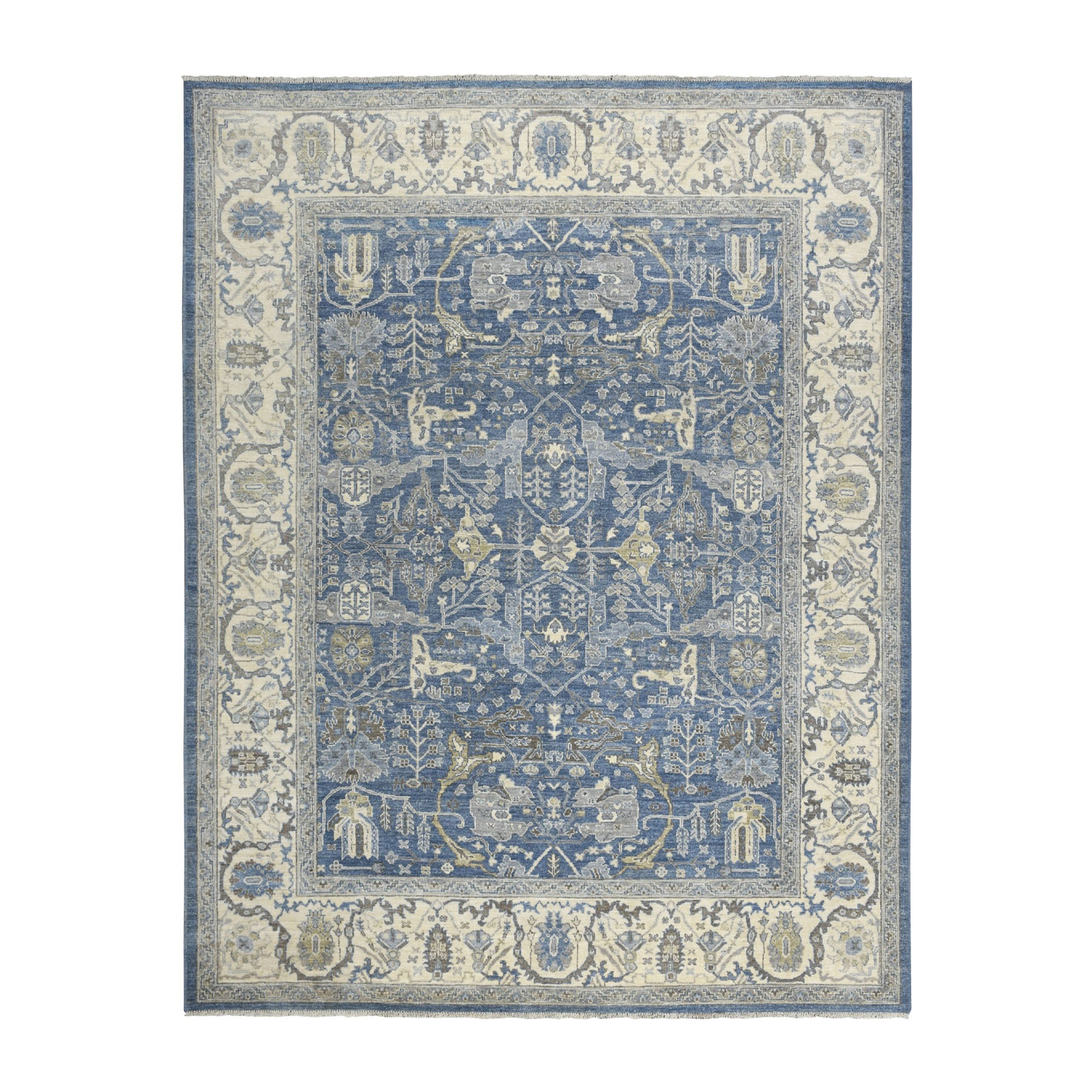 "7'10""X9'9"" White Wash Peshawar Pure Wool Hand Knotted Oriental Rug moaebe0e"