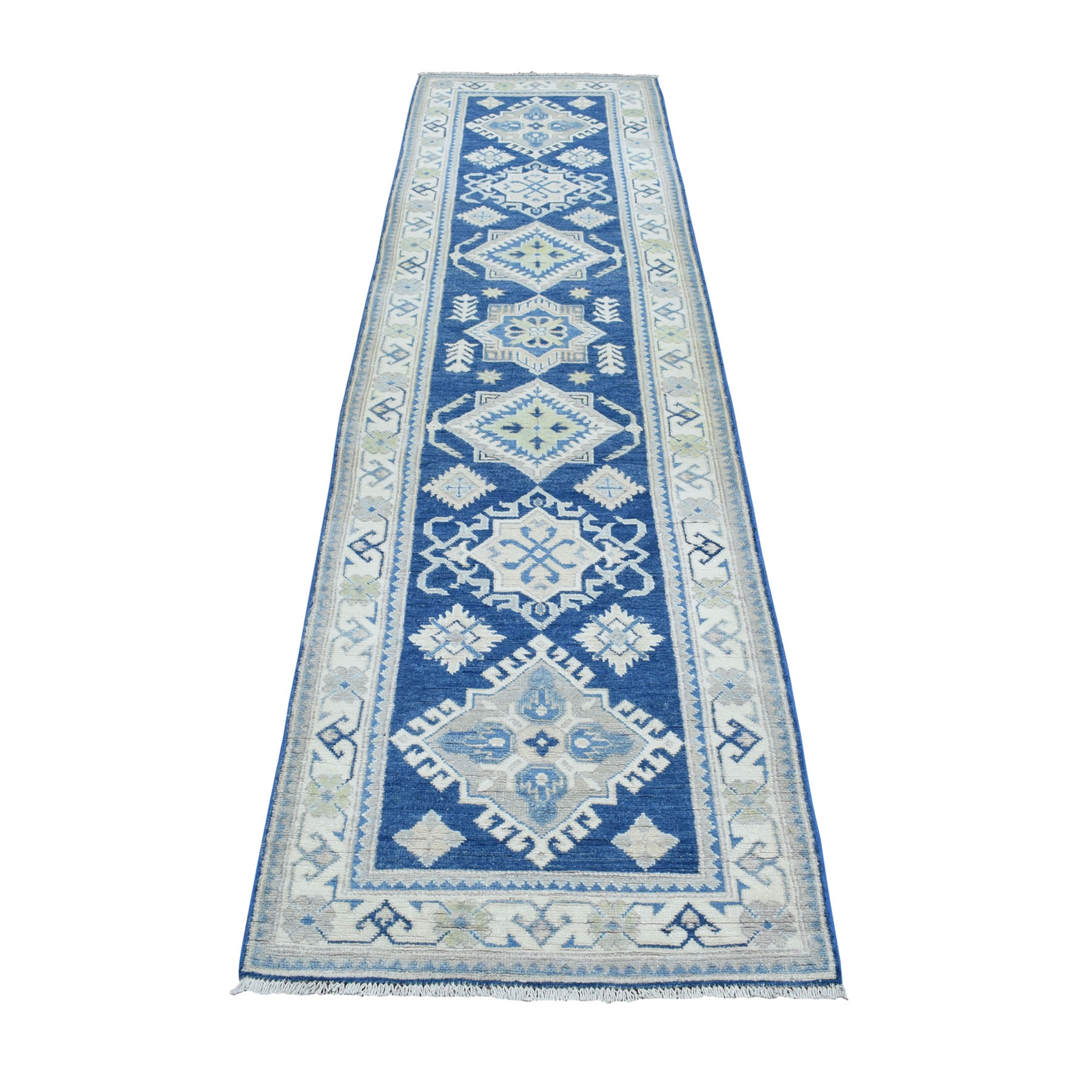 "2'8""X9'8"" Vintage Look Kazak Geometric Design Blue Runner Pure Wool Hand Knotted Oriental Rug moaebe07"
