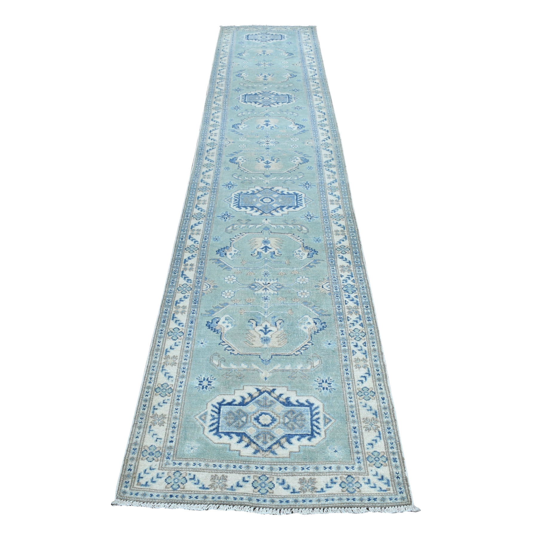 "2'6""X13'6"" Vintage Look Kazak Geometric Design Green Runner Pure Wool Hand Knotted Oriental Rug moaebe08"