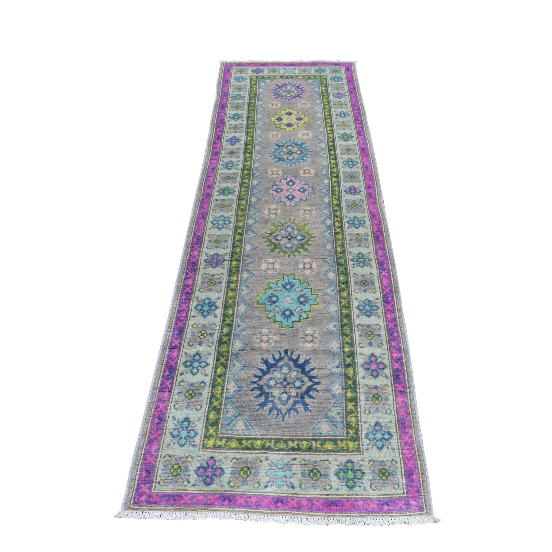 "2'6""X8'2"" Colorful Gray Fusion Kazak Runner Pure Wool Geometric Design Hand Knotted Oriental Rug moaebea0"