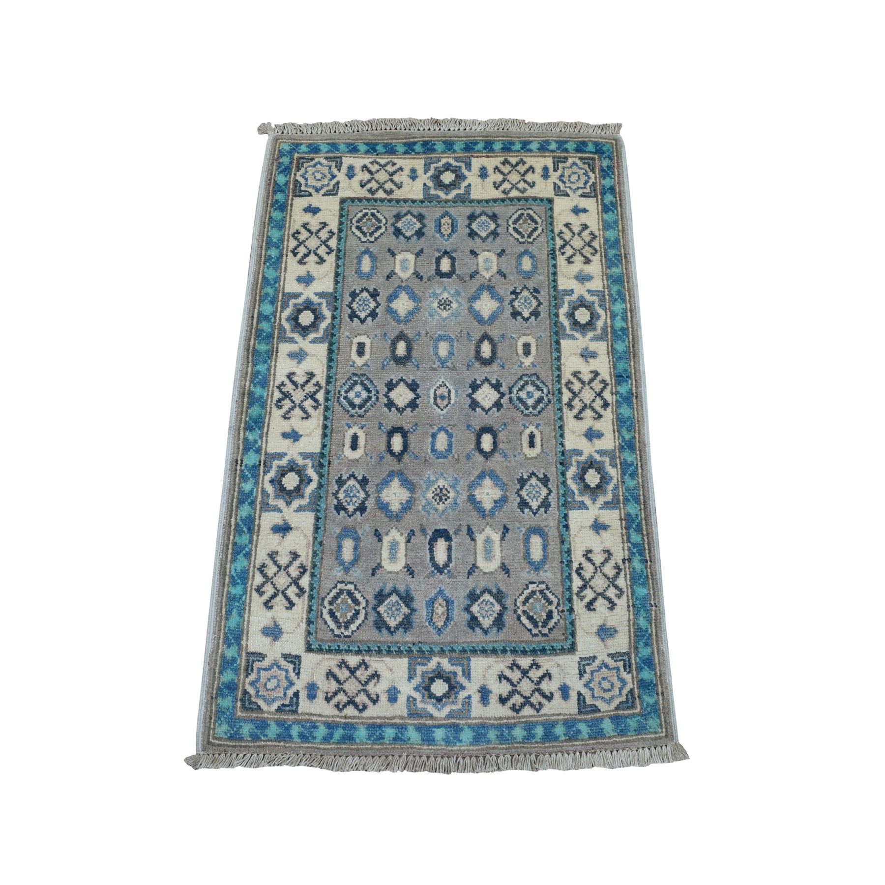 2'X3' Colorful Gray Fusion Kazak Pure Wool Geometric Design Hand Knotted Oriental Rug moaebeaa