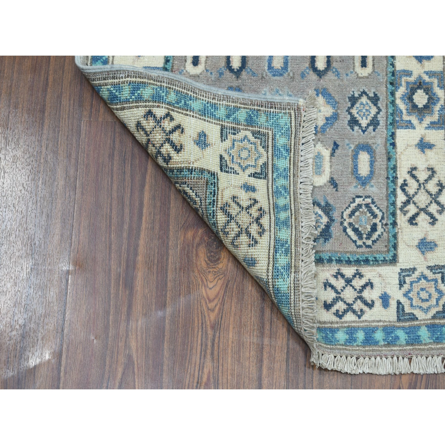 2-x3- Colorful Gray Fusion Kazak Pure Wool Geometric Design Hand Knotted Oriental Rug