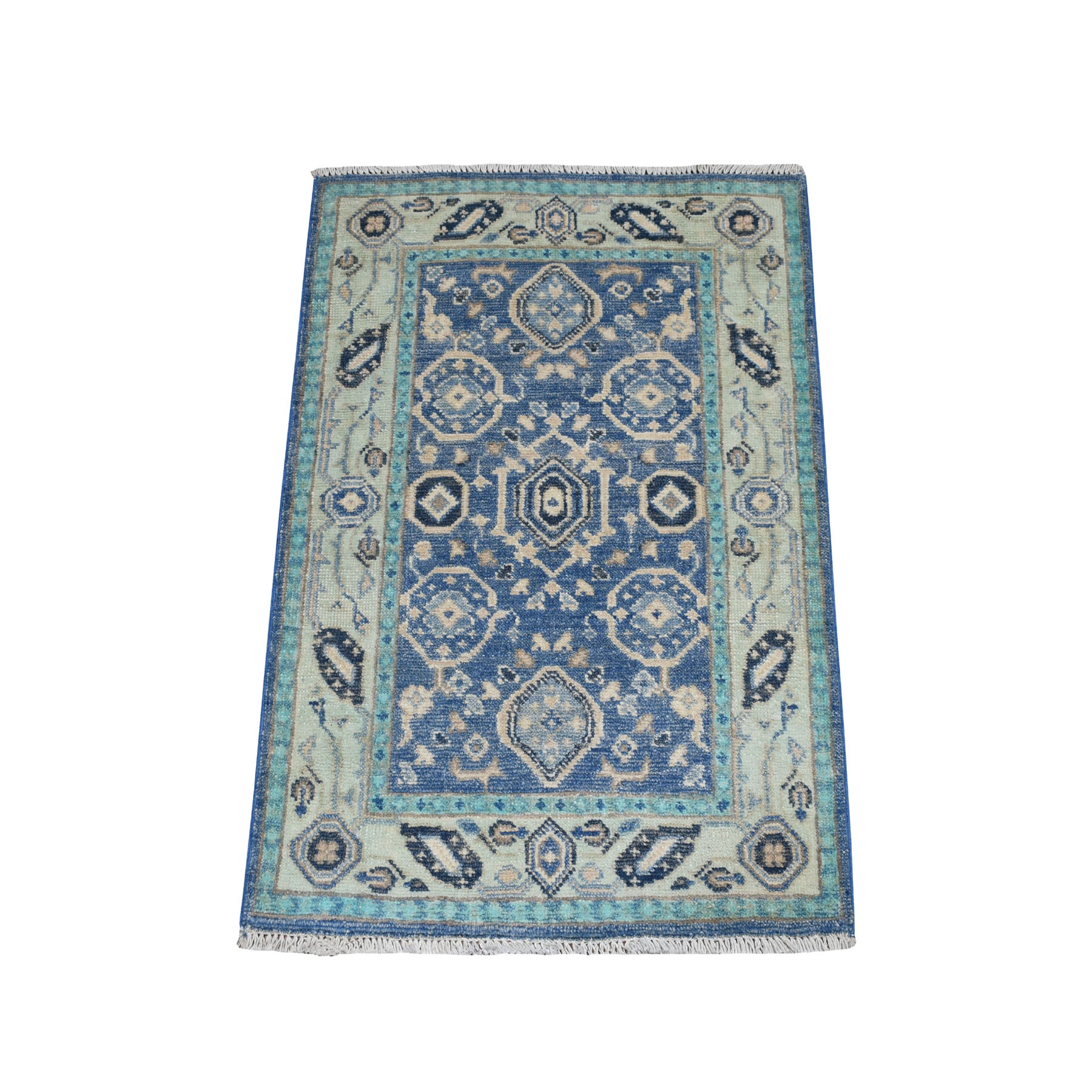 2'X3' Colorful Blue Fusion Kazak Pure Wool Geometric Design Hand Knotted Oriental Rug moaebead