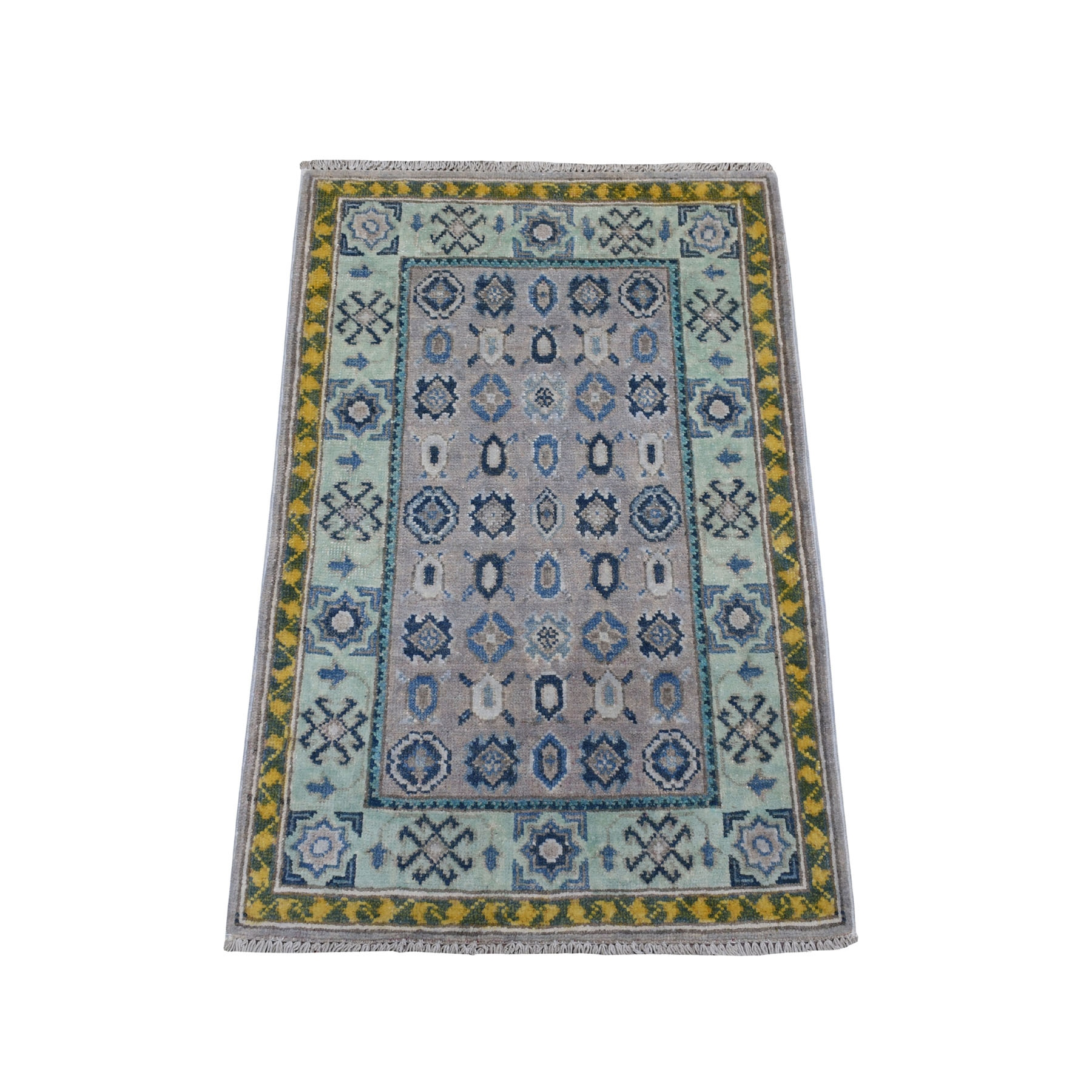 "2'X2'10"" Colorful Gray Fusion Kazak Pure Wool Geometric Design Hand Knotted Oriental Rug moaebeae"