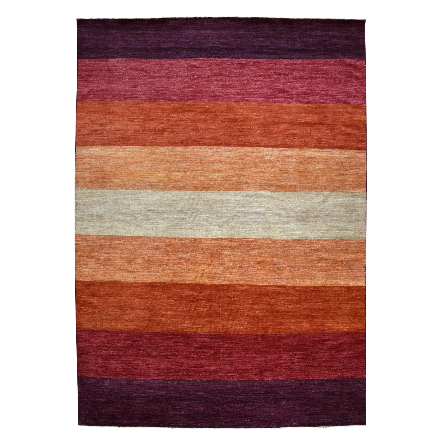 10'X14' On Clearance Colorful Hand Knotted Striped Gabbeh Pure Wool Oriental Rug moaebea7