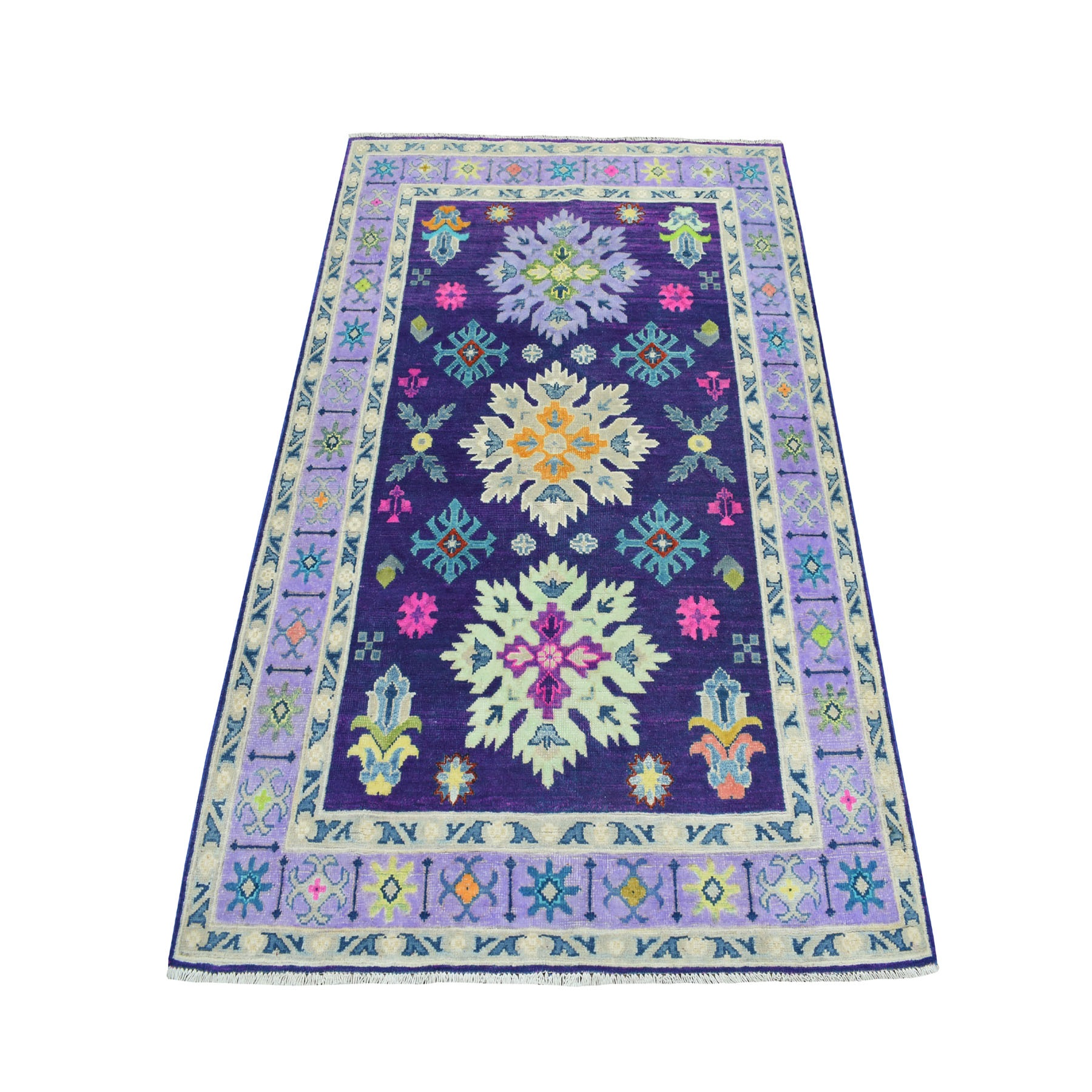 4'x6' Colorful Purple Fusion Kazak Pure Wool Geometric Design Hand Knotted Oriental Rug 52520