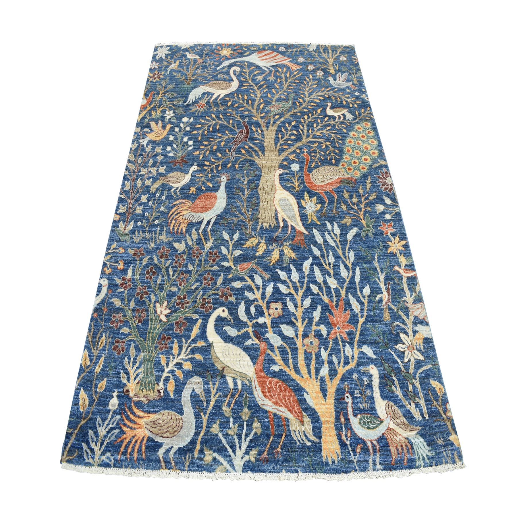 """5'1""""X7'2"""" Birds Of Paradise Tree Of Life Peshawar Pure Wool Hand Knotted Oriental Rug moaebebb"""