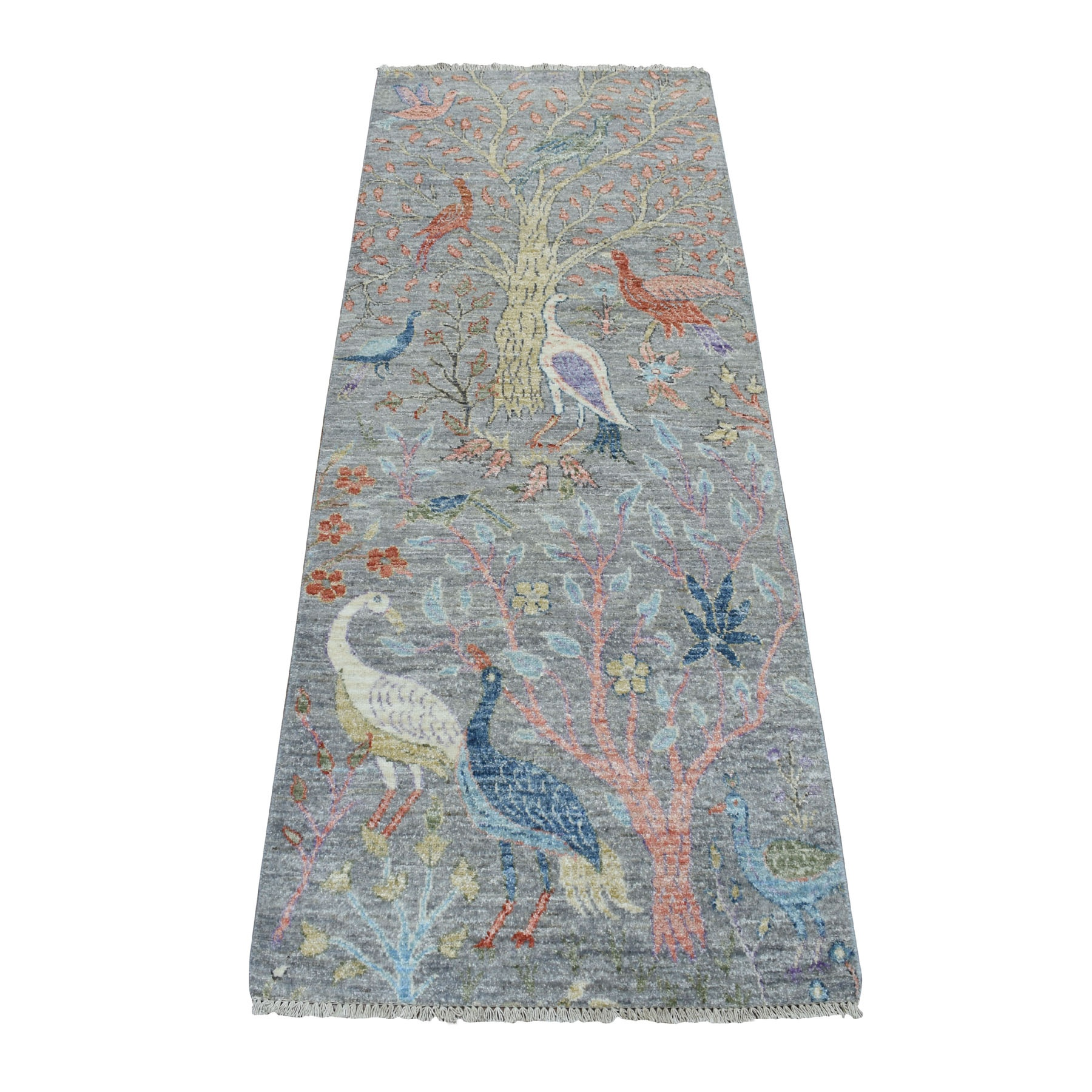 """2'6""""x6'1"""" Birds of Paradise Peshawar Pure Wool Hand Knotted Runner Oriental Rug 52523"""